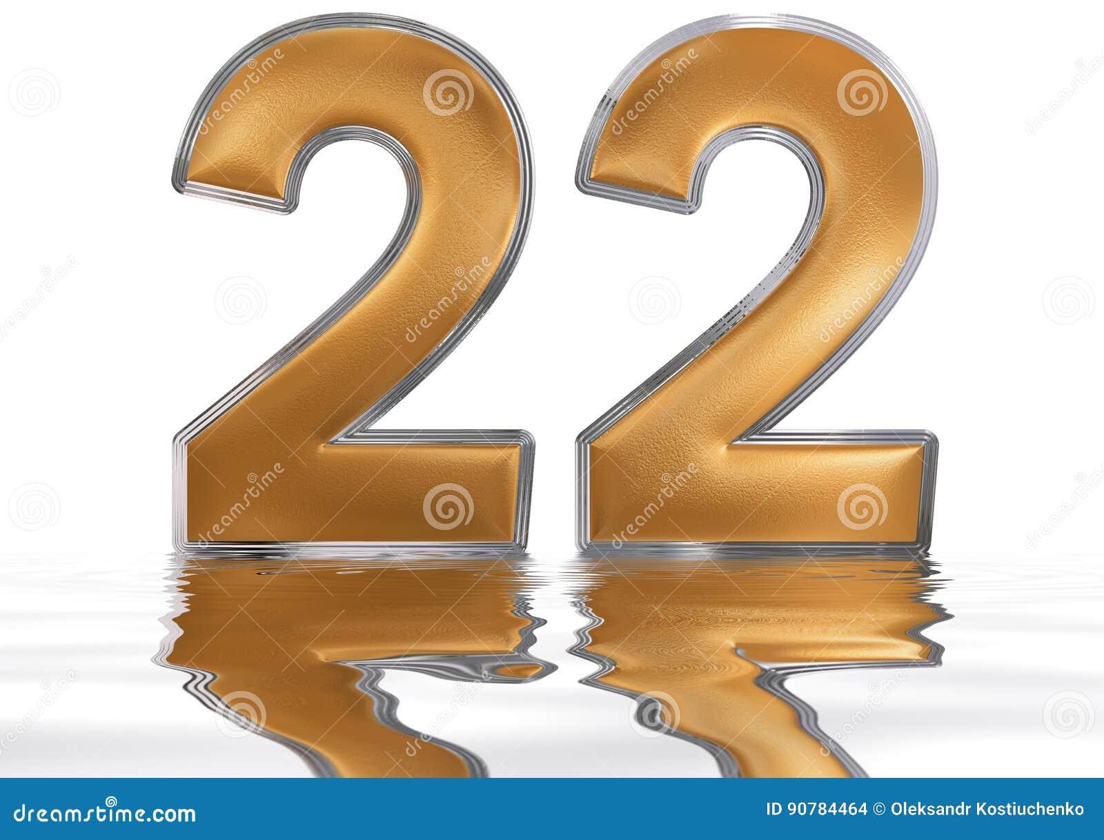 Cijfer 22 Tweeëntwintig Overdacht De Waterspiegel Stock
