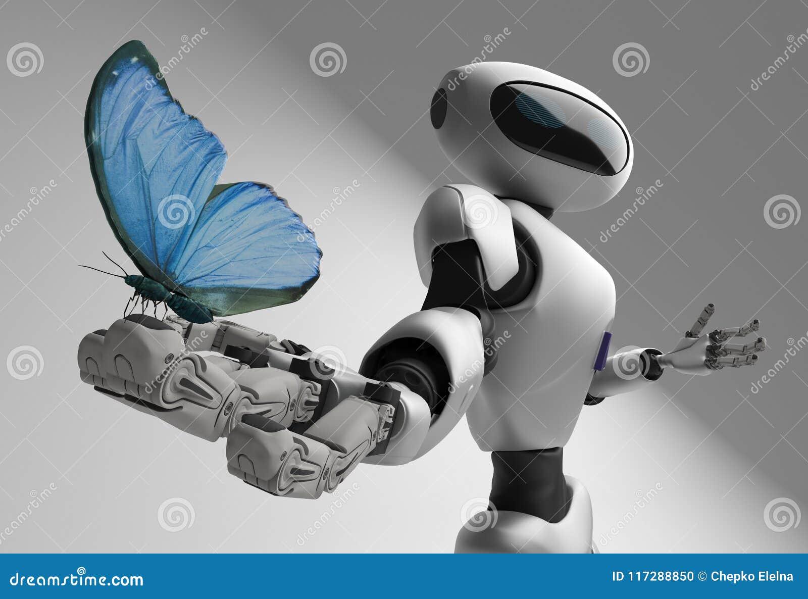 Cijfer van de robot en butterfliy op een witte achtergrond
