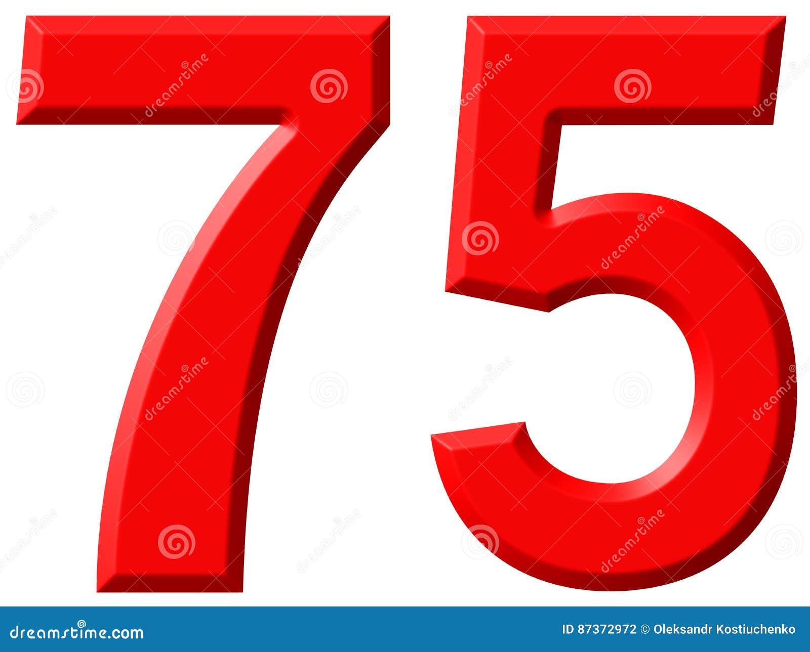 Cijfer 75, Vijfenzeventig, Geïsoleerd Op Witte 3d