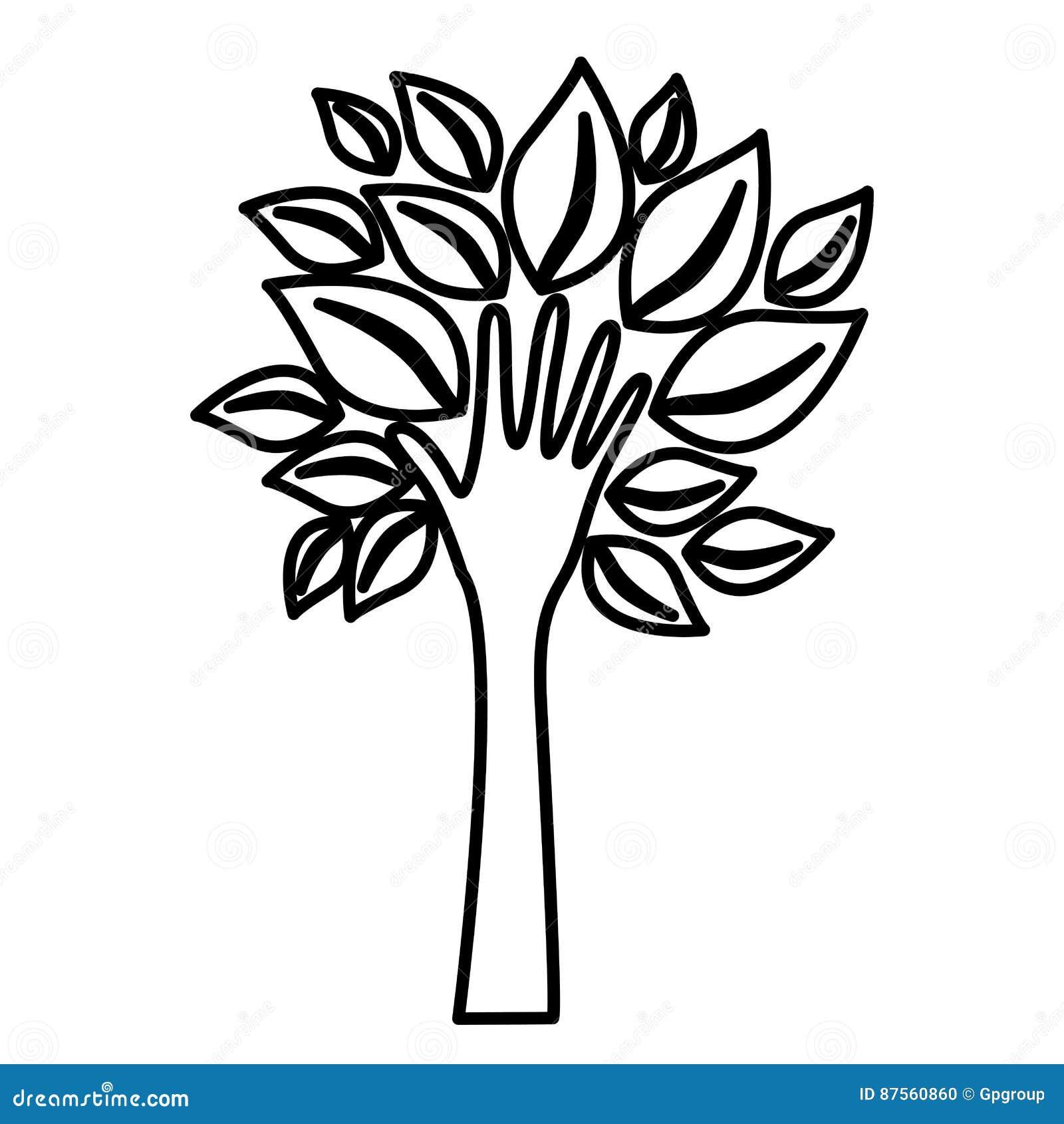 Cijferboom met bladeren en stam in vormhand