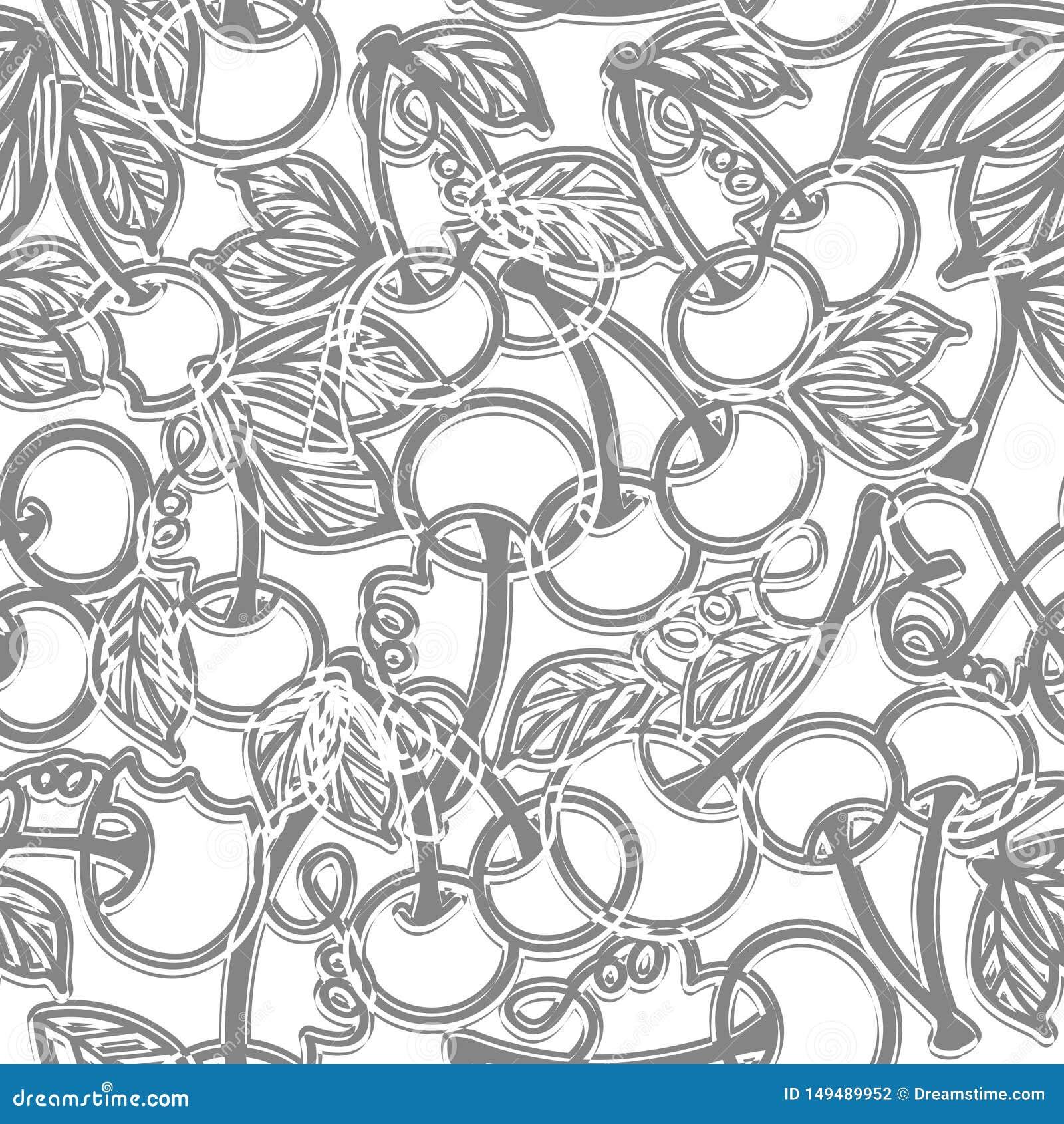 Ciliegia con le foglie - modello senza cuciture grigio su bianco