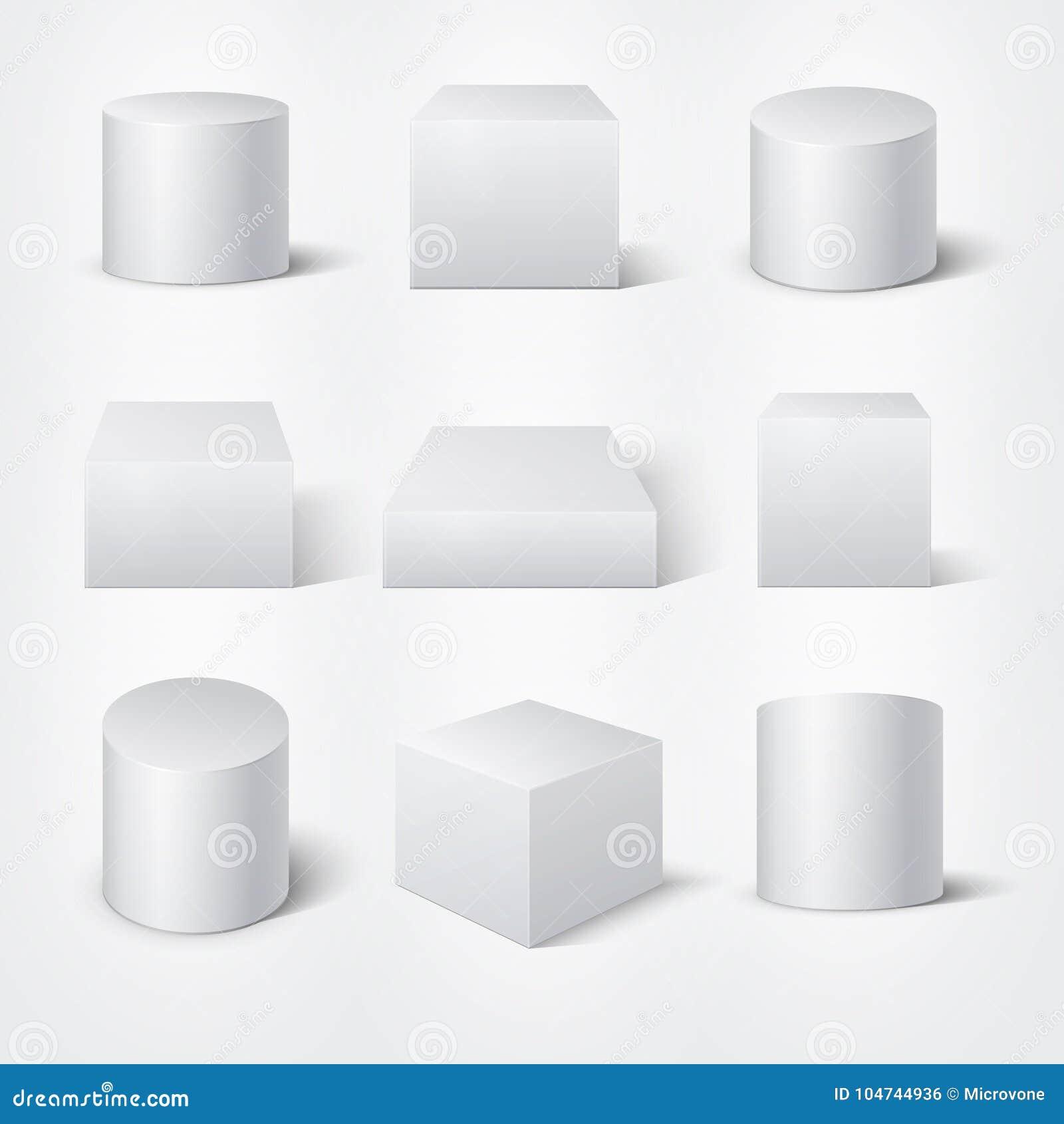 Cilindros 3D Y Cubos Vacíos Blancos Plantilla De Los Podios Del ...