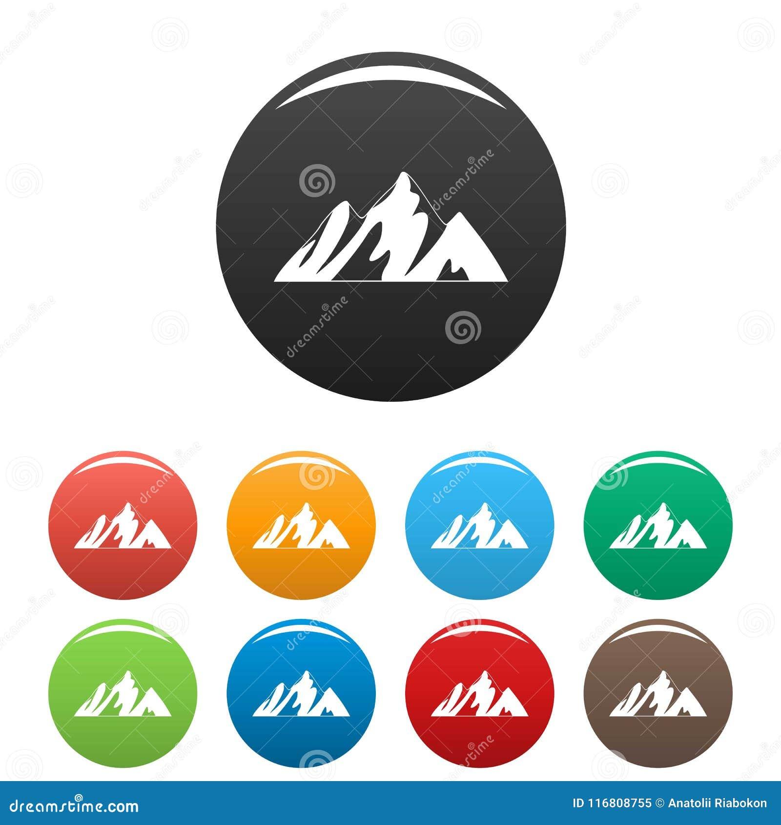 Cima del vettore di colore fissato icone della montagna
