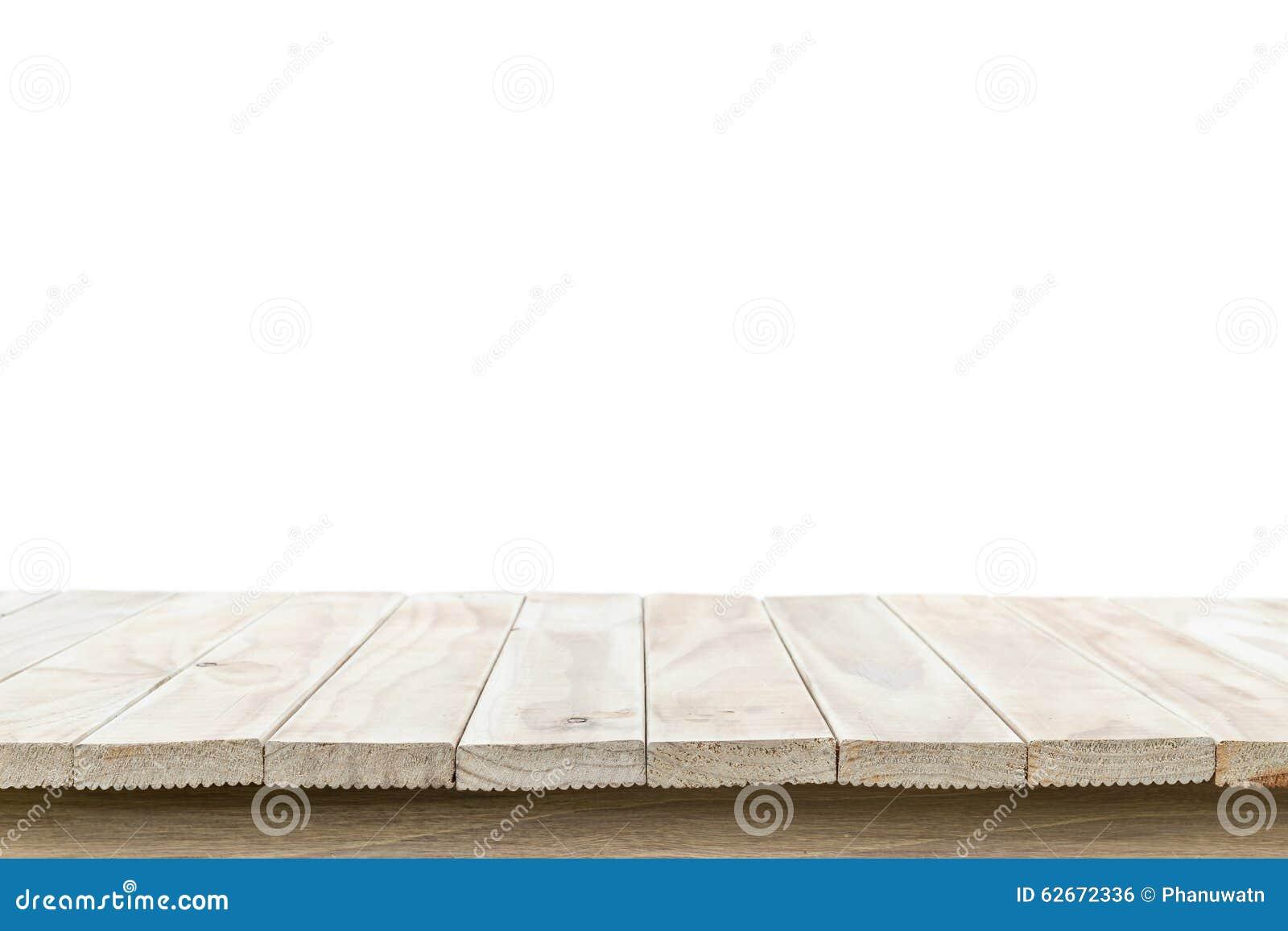 Cima vuota della tavola o del contatore di legno isolato su backgroun bianco