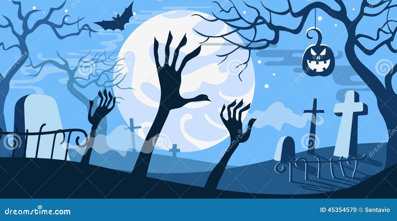 Cimetière effrayant de calibre de concept d illustration de vecteur de Halloween