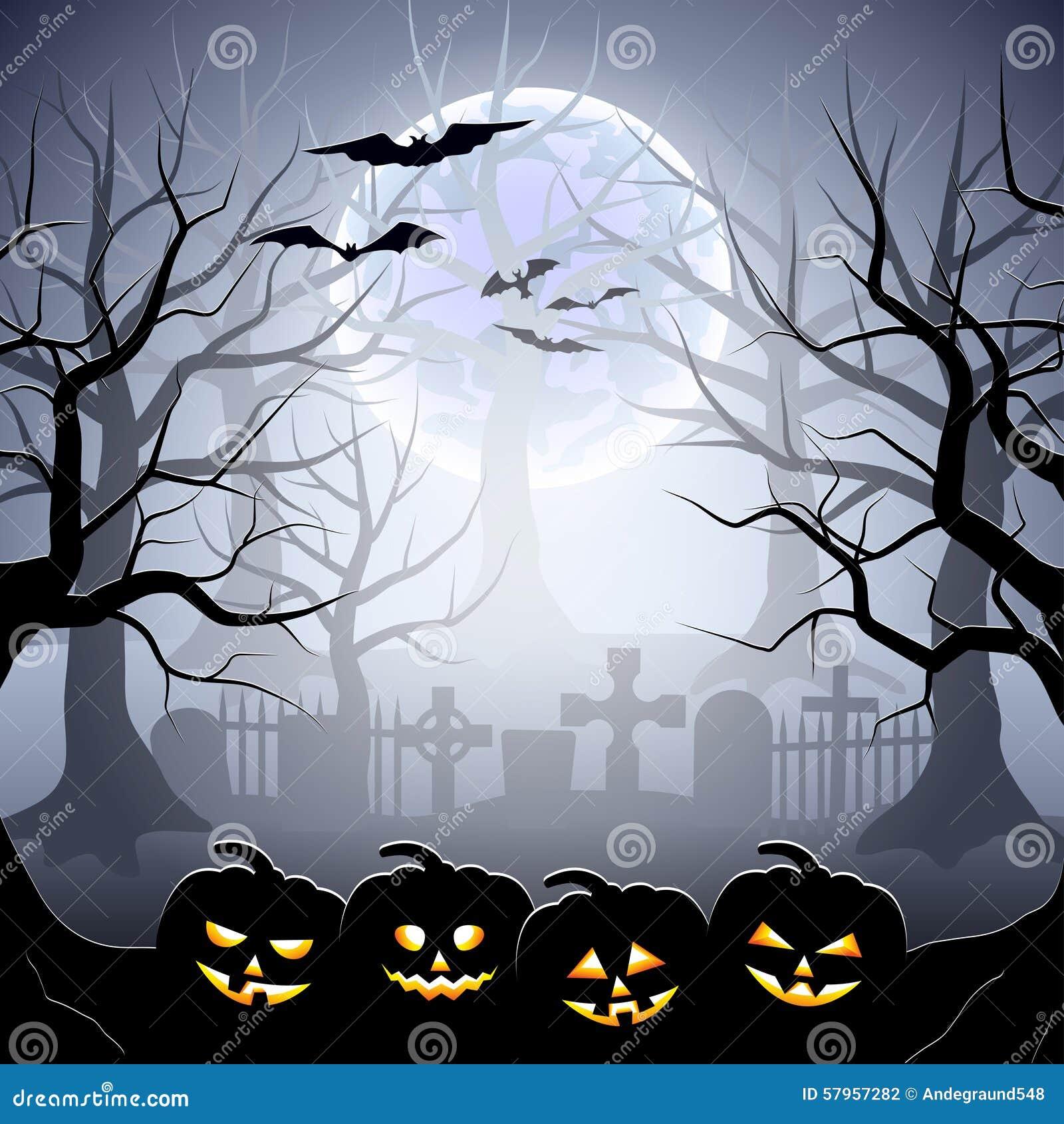 Cimetière Et Potirons De Halloween Dans La Forêt Brumeuse