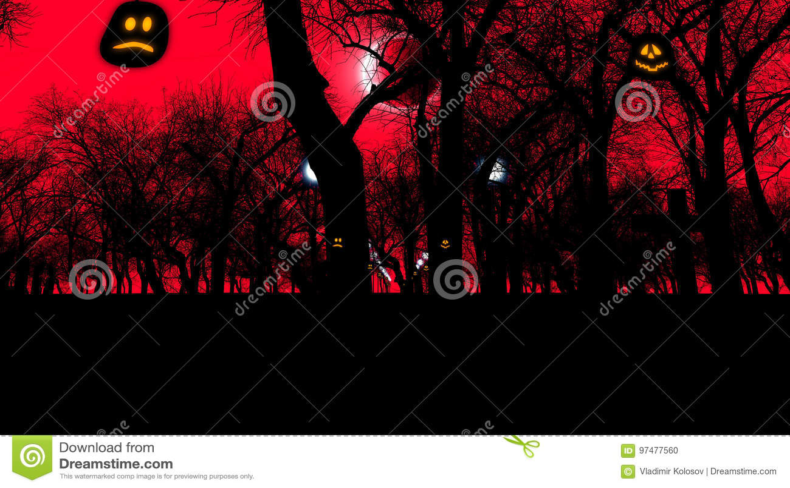 Cimitero con gli alberi terrificanti su Halloween