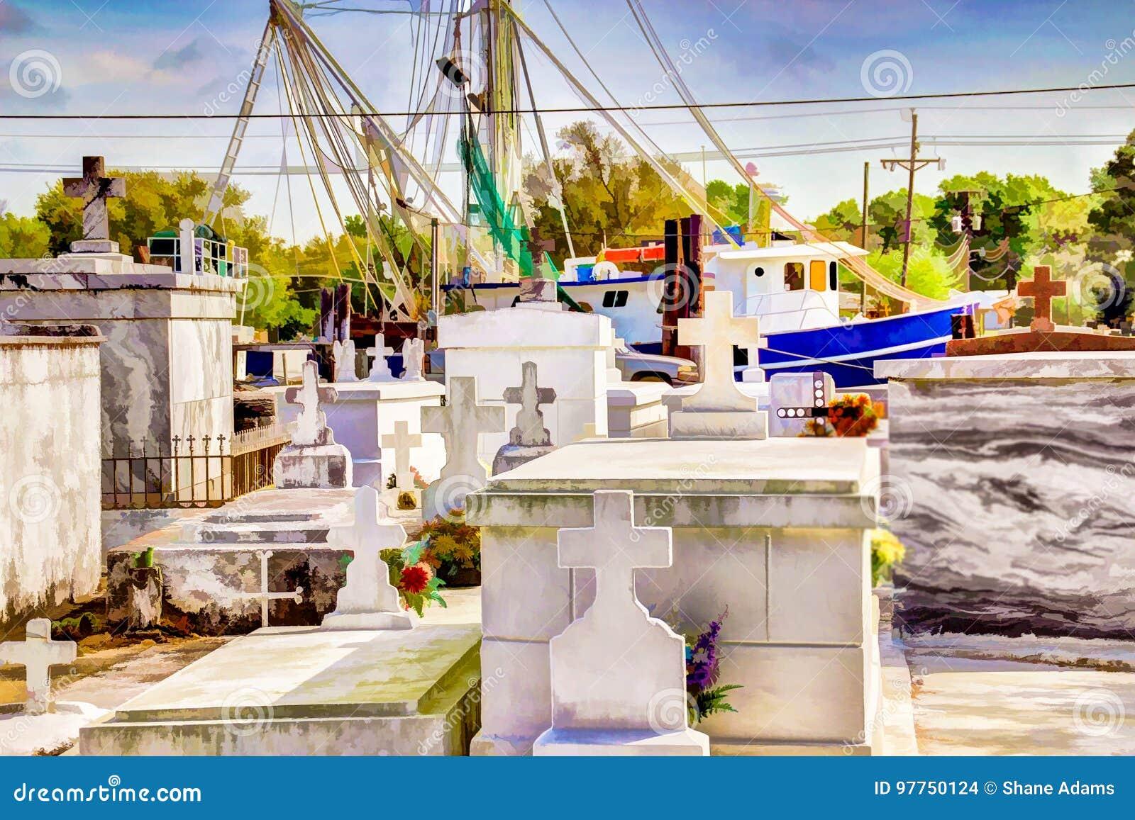 Cimitero del ramo paludoso di fiume della Luisiana
