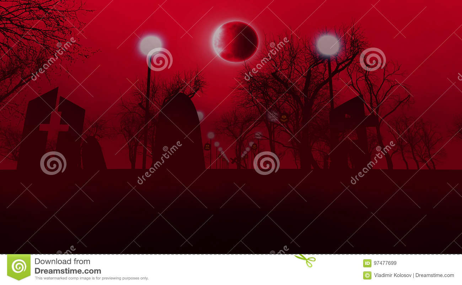 Cimitero triste con tre tombe su Halloween