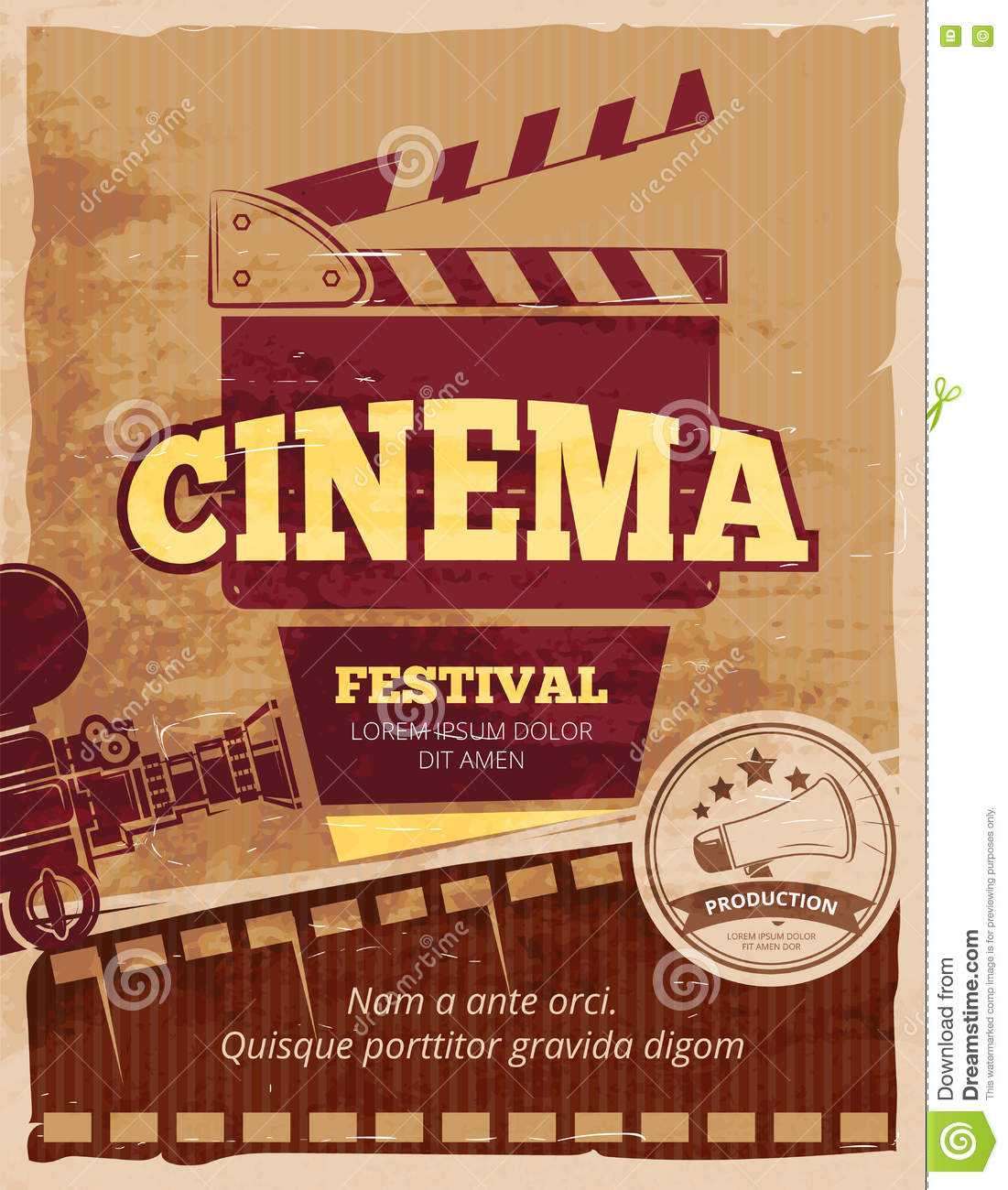 cin ma affiche de vintage de vecteur de festival de film illustration de vecteur illustration. Black Bedroom Furniture Sets. Home Design Ideas