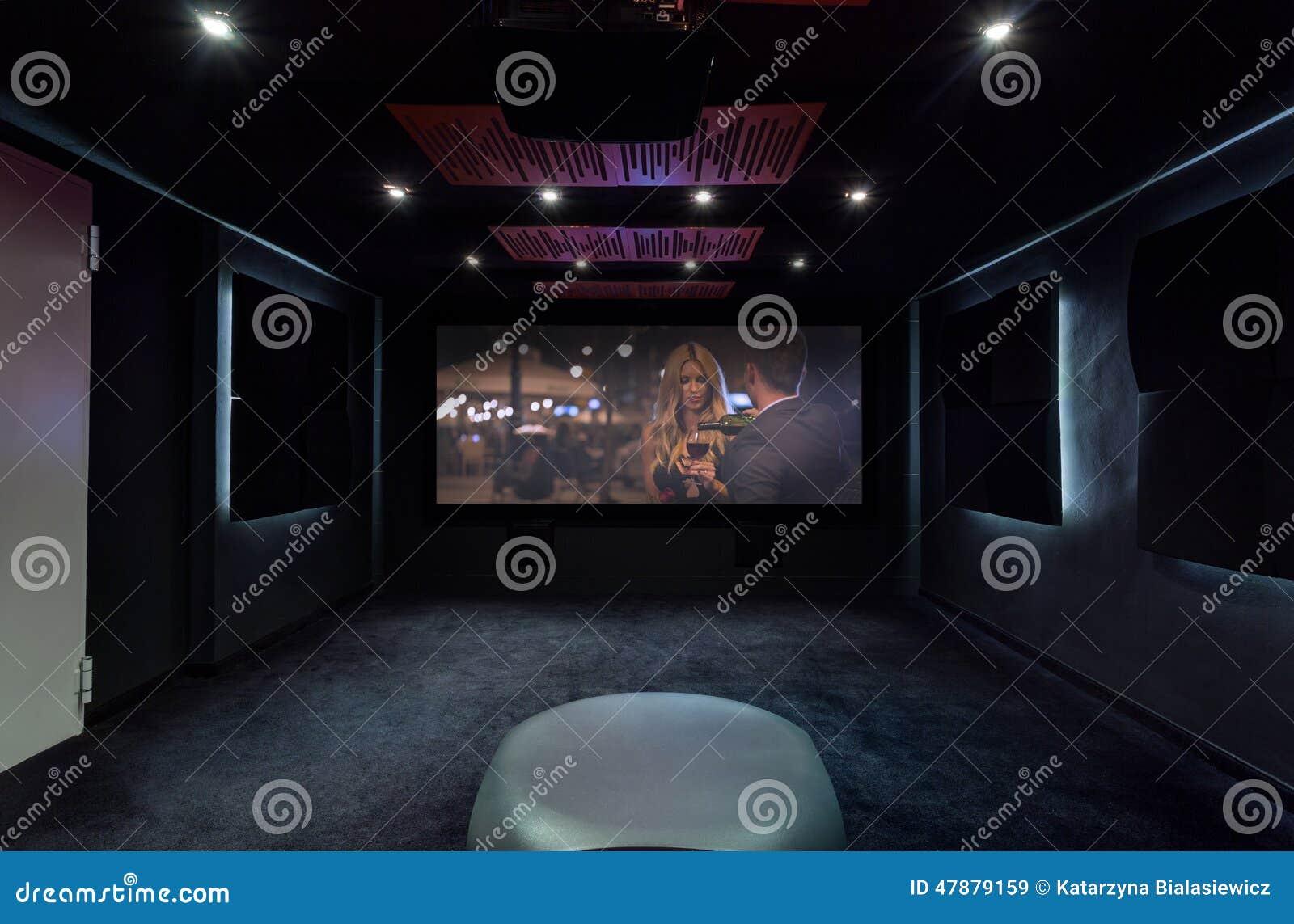 Cin ma priv la maison image stock image du int rieur 47879159 - Cinema a la maison ...