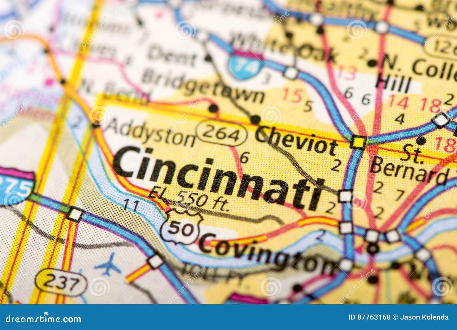Cincinnati, Ohio on map stock photo. Image of country - 87763160