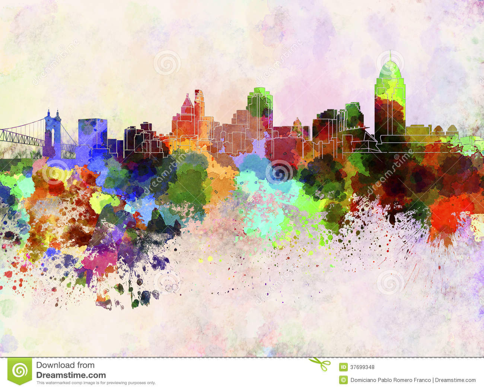 cincinnati skyline in watercolor background royalty free stock photos