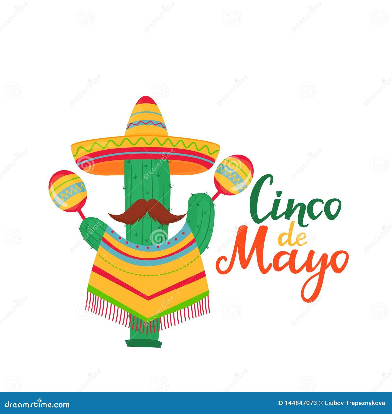 Литерность Cinco de Mayo 5-ое из знамени в мае Национальный мексиканский праздник Смешной кактус с усиком в плащпалате и