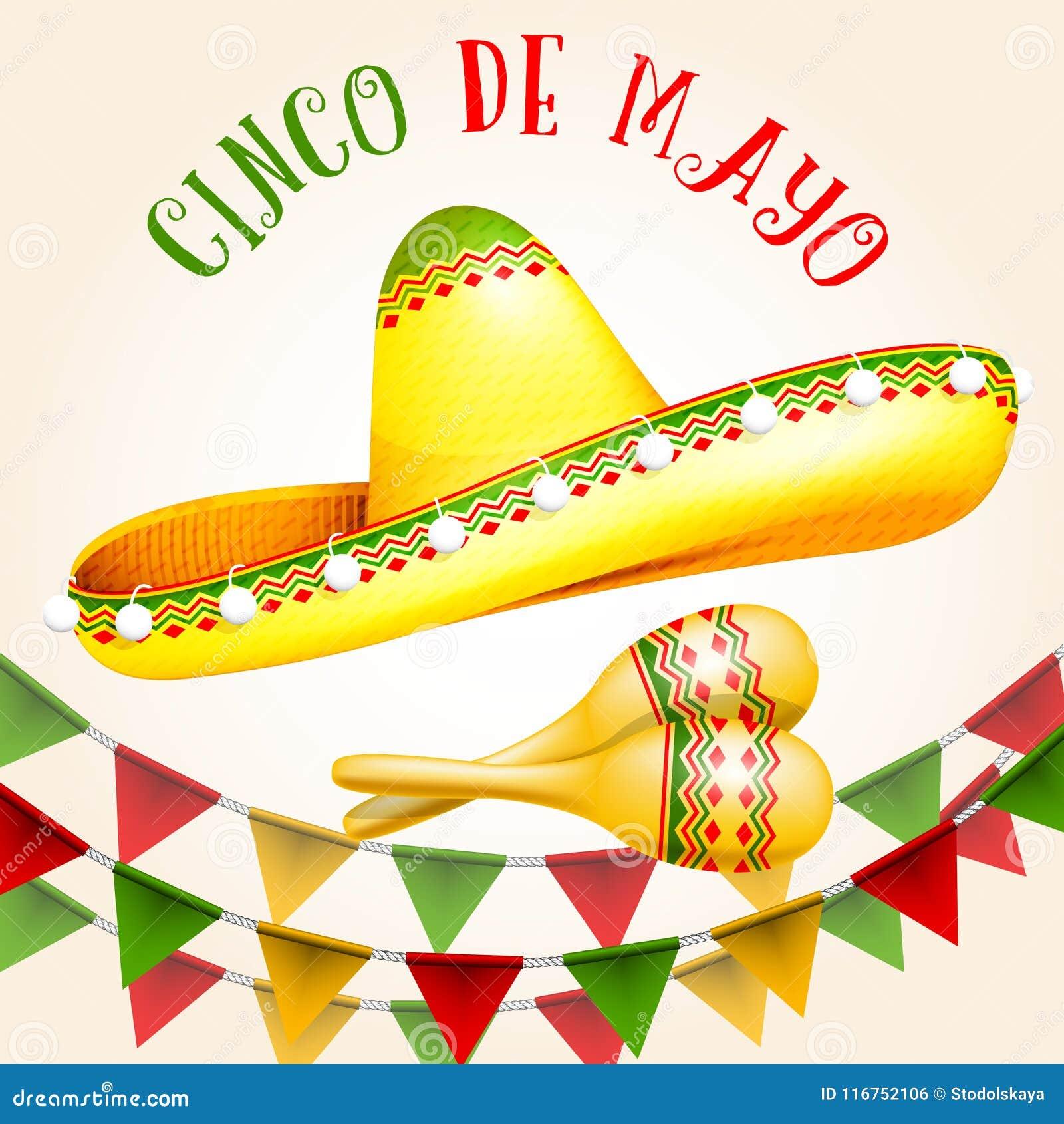 Cinco de Mayo affisch med sombreron och maracas