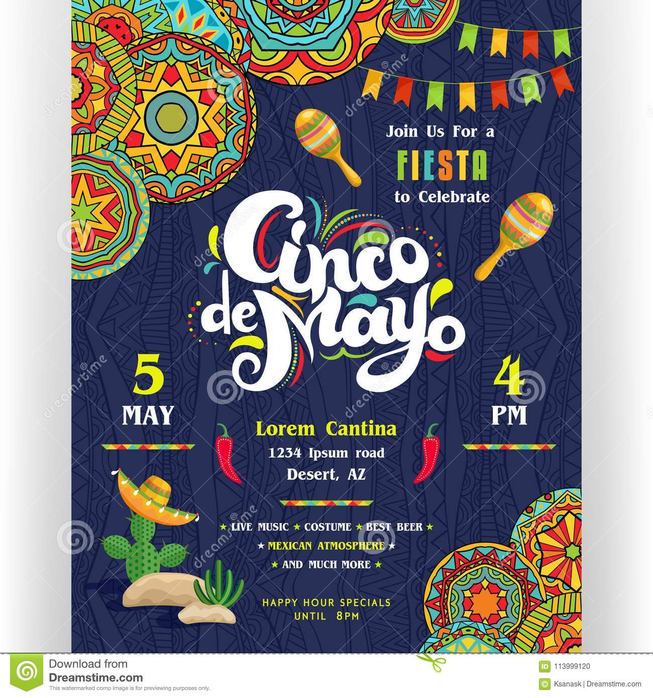 download cinco de mayo announcing poster template stock vector illustration of fancy lettering