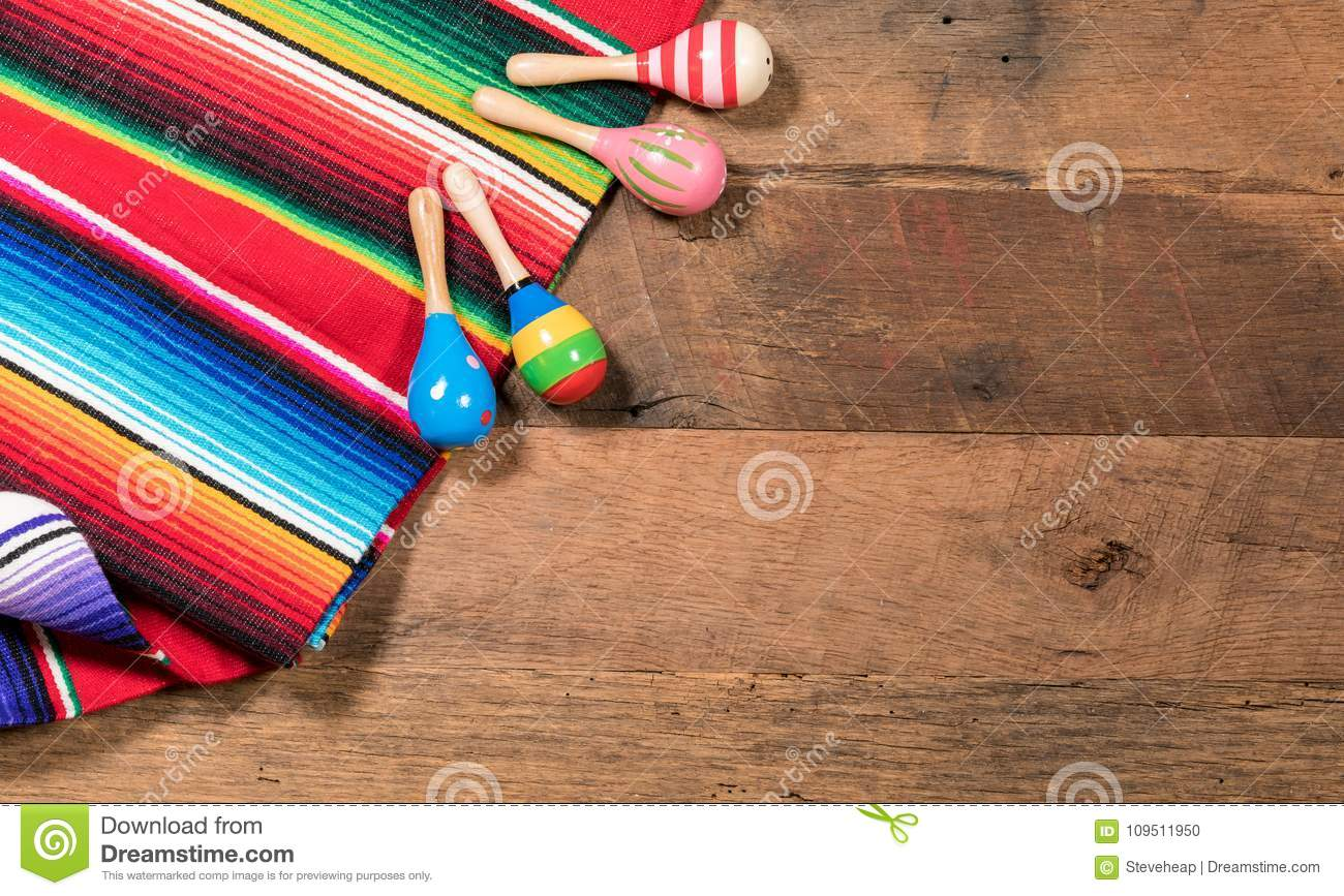 Cinco De Mayo Background Image On With Maracas And Serape Wooden Rustic Boards
