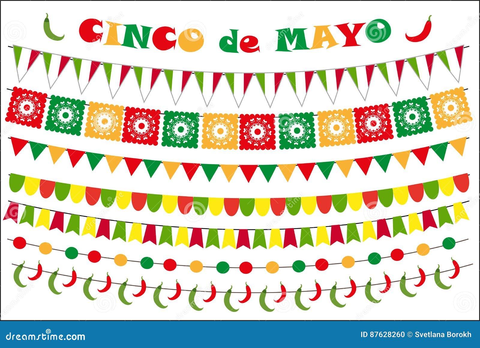 Cinco de Mayo berömuppsättning av kulöra flaggor, girlander som bunting Plan stil, på vit bakgrund vektor