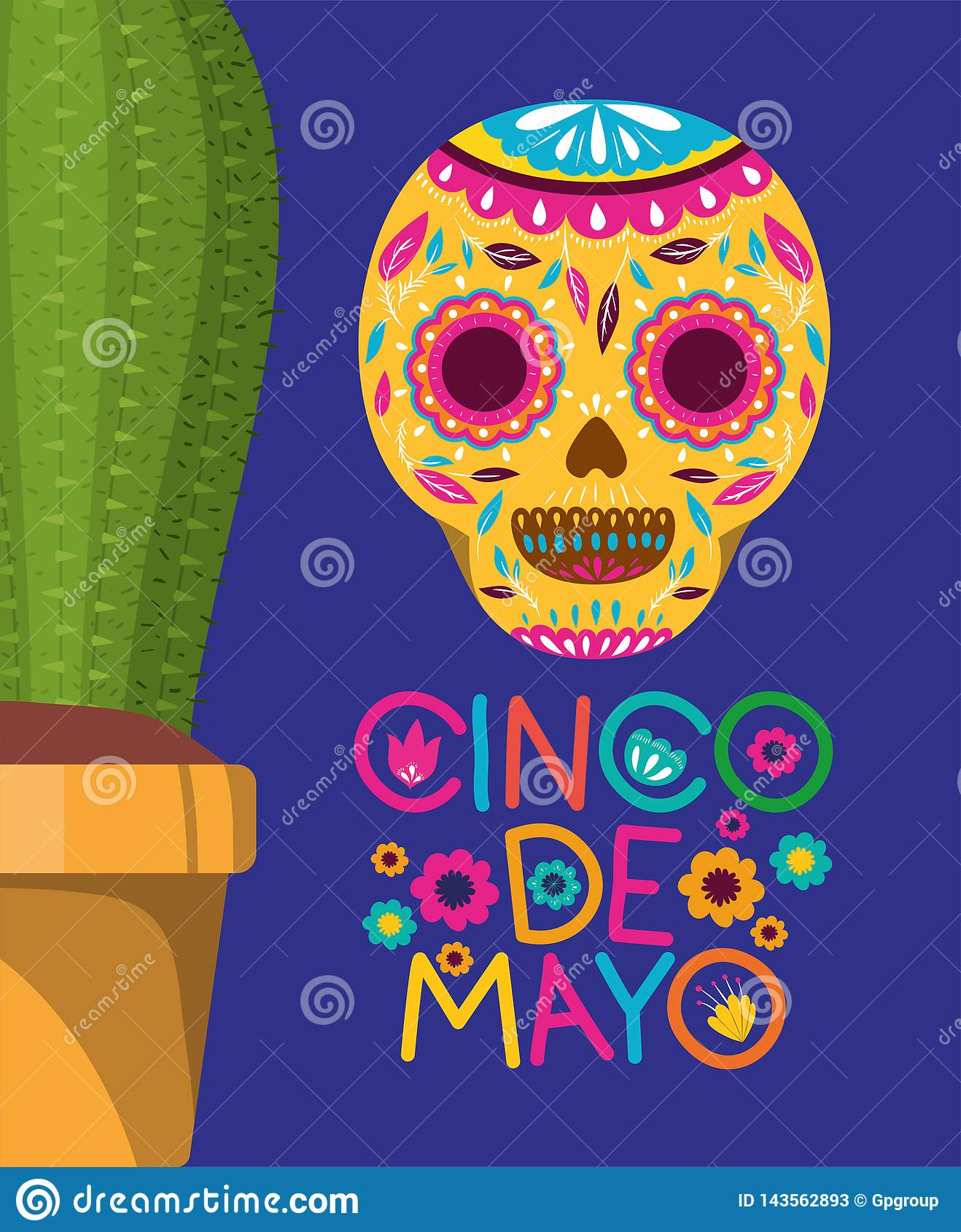 Cinco de mayo card with death mask and cactus