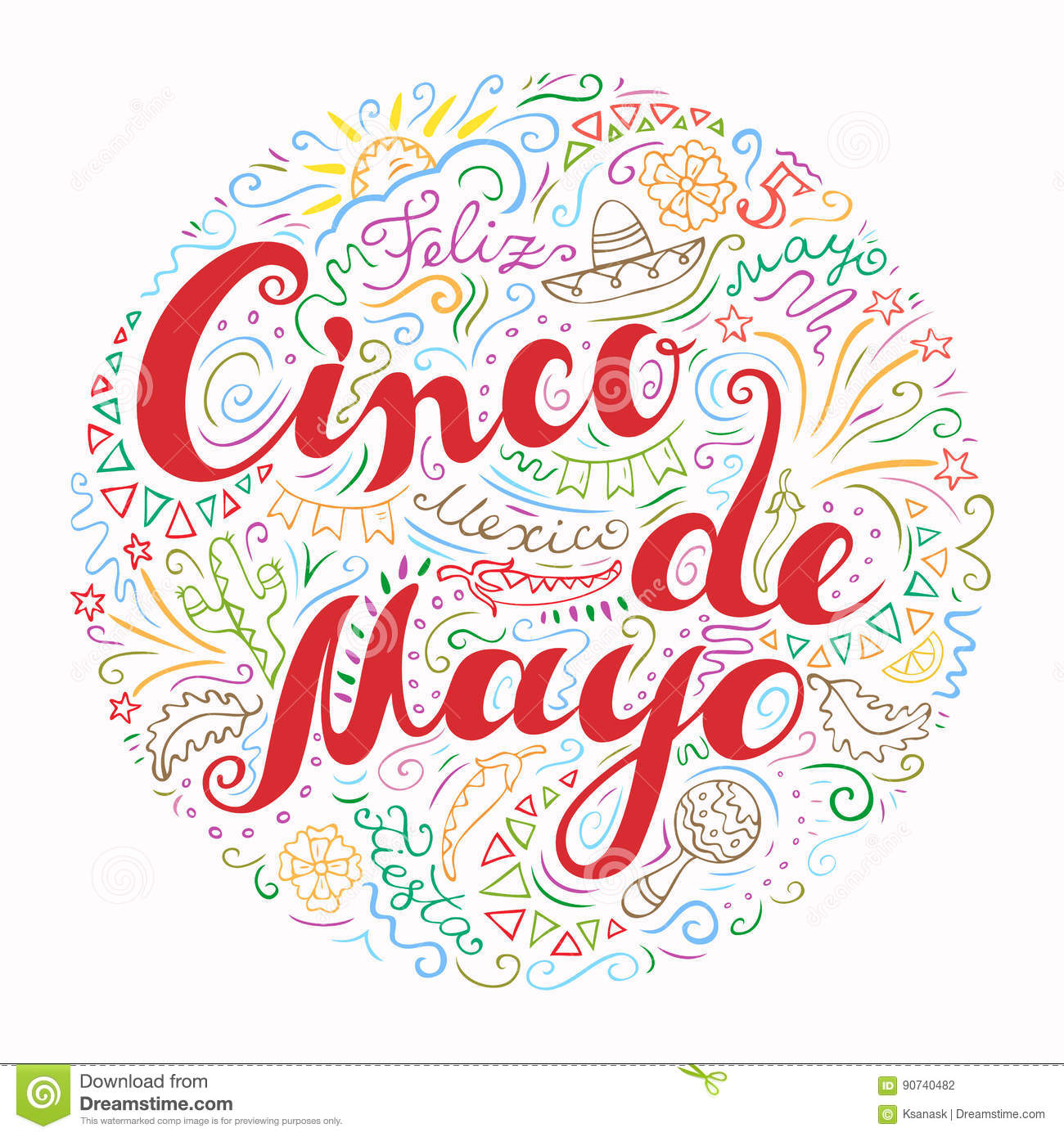 Cinco De Mayo Card With Doodle Style Handwritten Greeting With Many