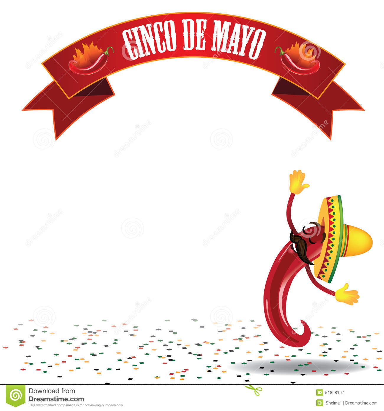 Cinco De Mayo Dancing Hot Pepper Background EPS10 Vector