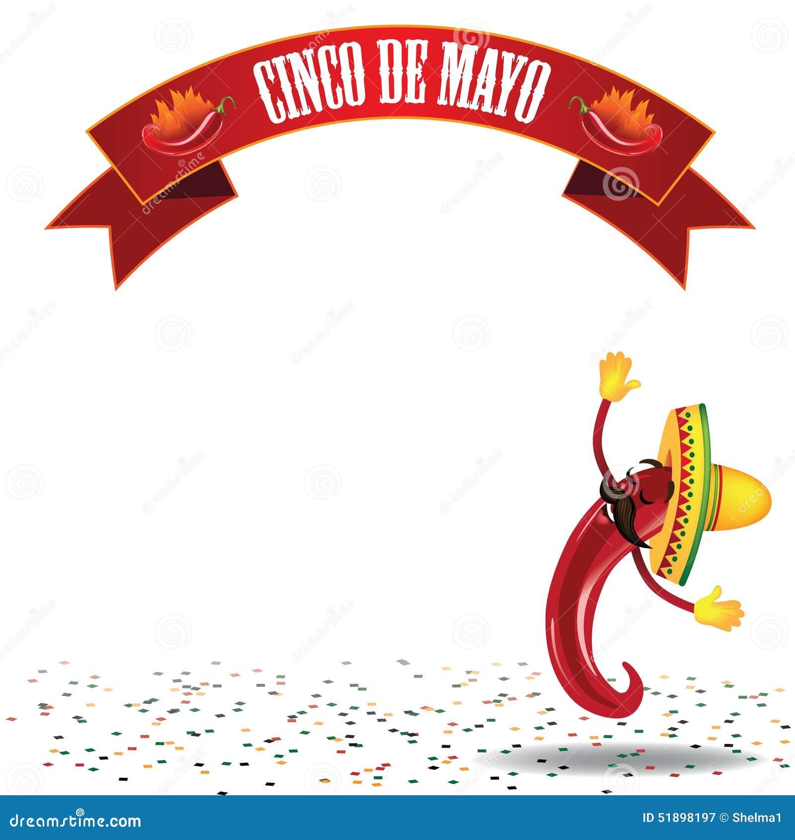 Cinco De Mayo Dancing Hot Pepper Background EPS10 Vector