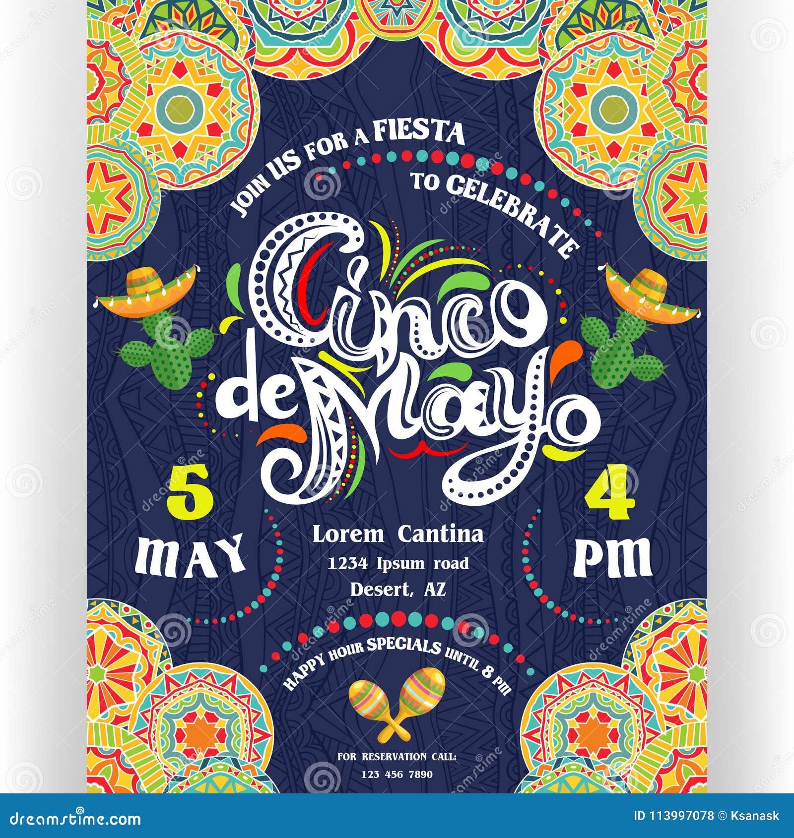 Cinco De Mayo die affichemalplaatje aankondigen