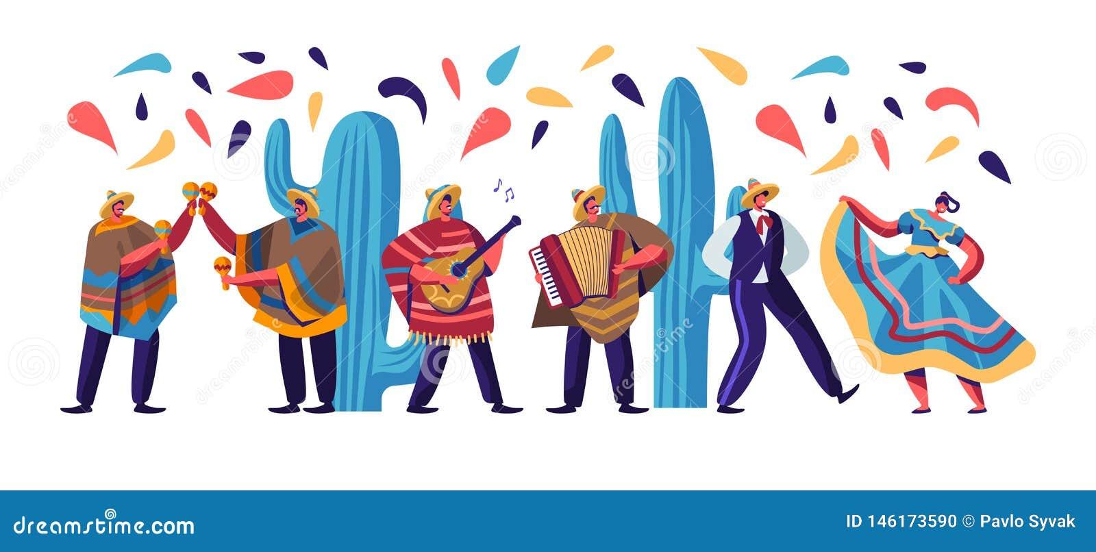Cinco De Mayo festiwal z Meksykańskimi ludźmi W Kolorowy Tradycyjnym Odziewa, muzycy z gitary, marakasów i akordeonu tancerzami,