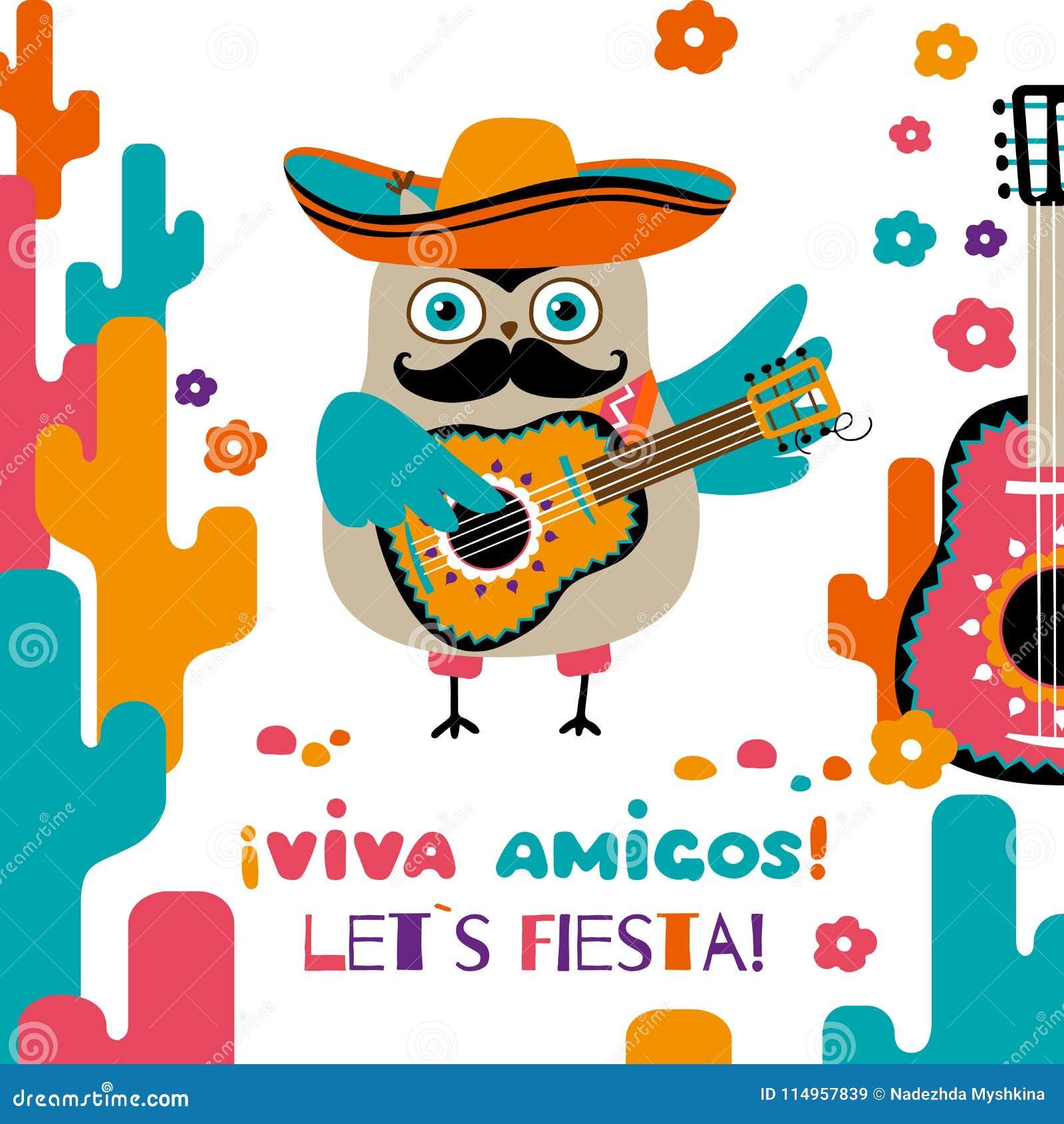 Cinco De Mayo Greeting Card Cartoon Owl In Mexican Sombrero Stock