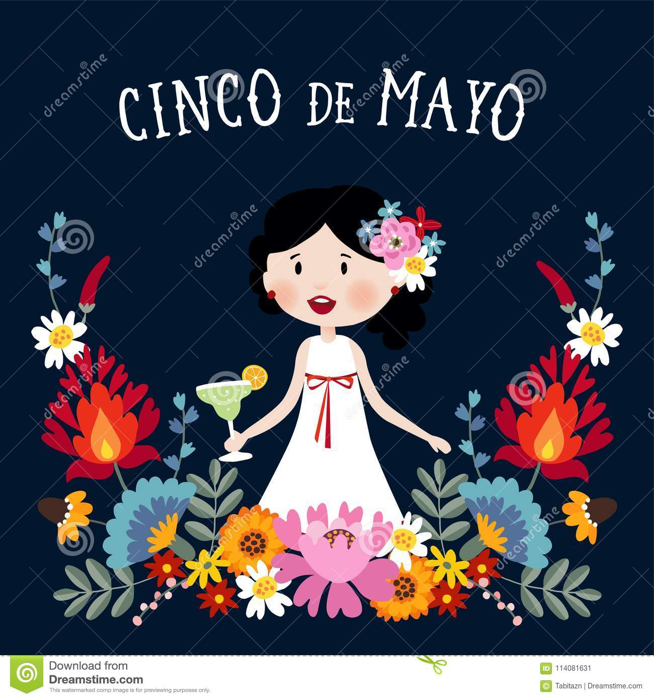 Cinco de Mayo greeting card, invitation with Mexican woman drinking margarita cocktail, chili peppers and decorative