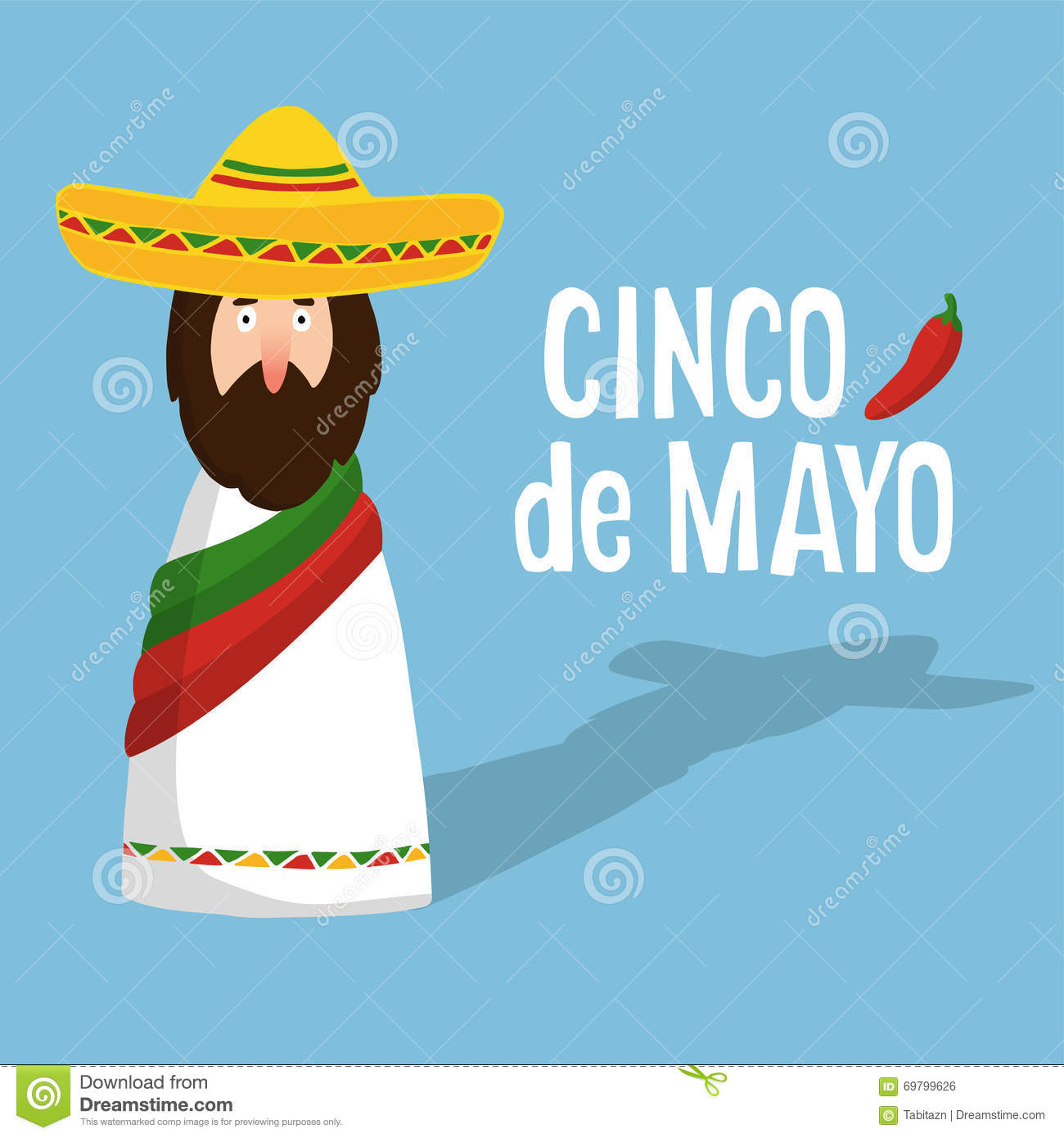 Cinco de mayo greeting card with mexican man with sombrero hand cinco de mayo greeting card with mexican man with sombrero hand drawn text and chilli m4hsunfo