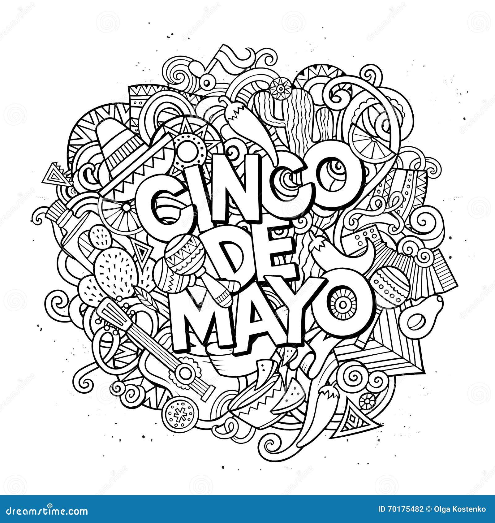 Cinco de mayo Illustration för klotter för tecknad filmvektor hand dragen