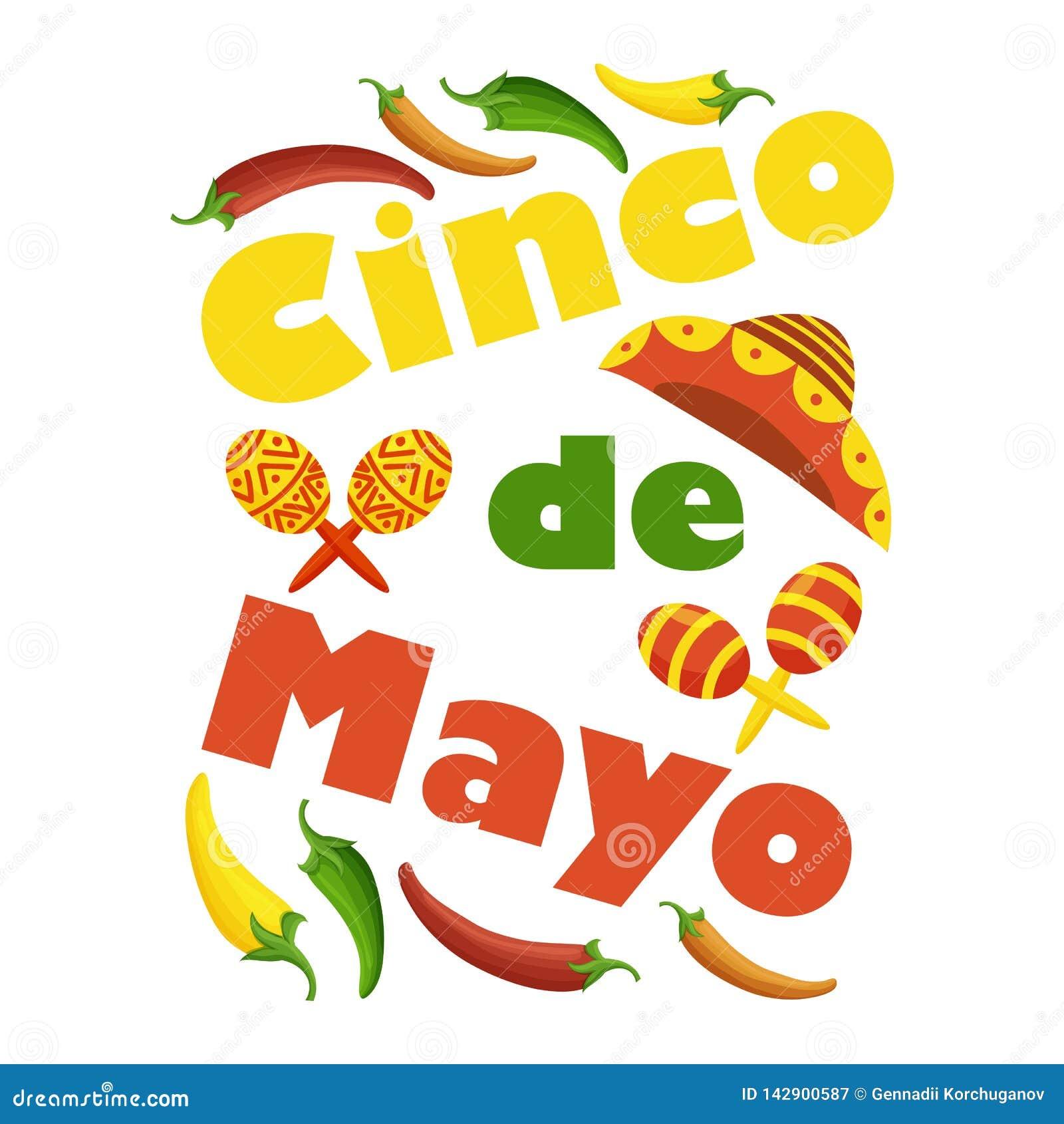 Cinco de Mayo kolorowy świąteczny tło z przedmiotami i symbolami