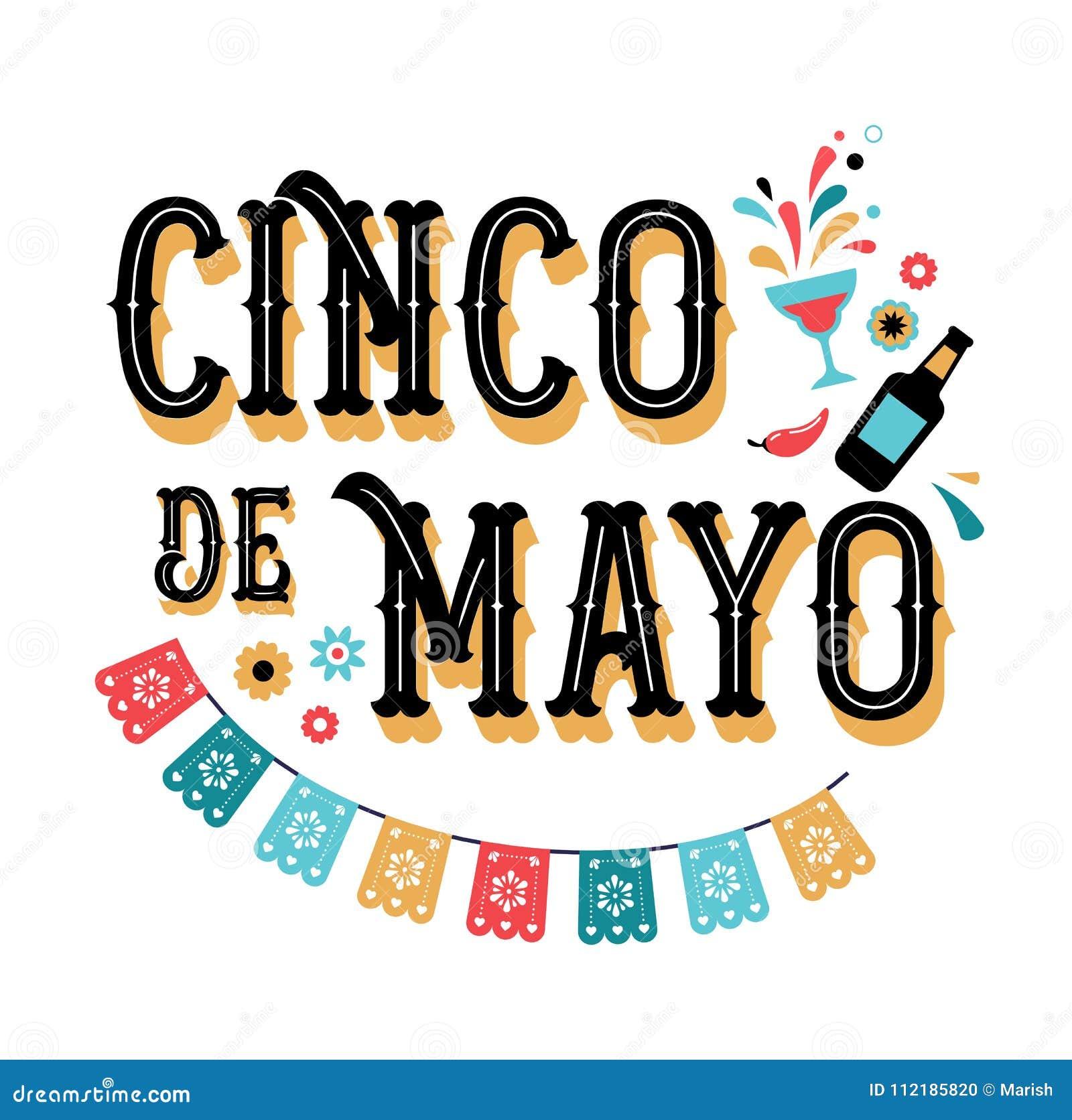Cinco de Mayo - Maj 5, federal ferie i Mexico Fiestabaner- och affischdesign med flaggor