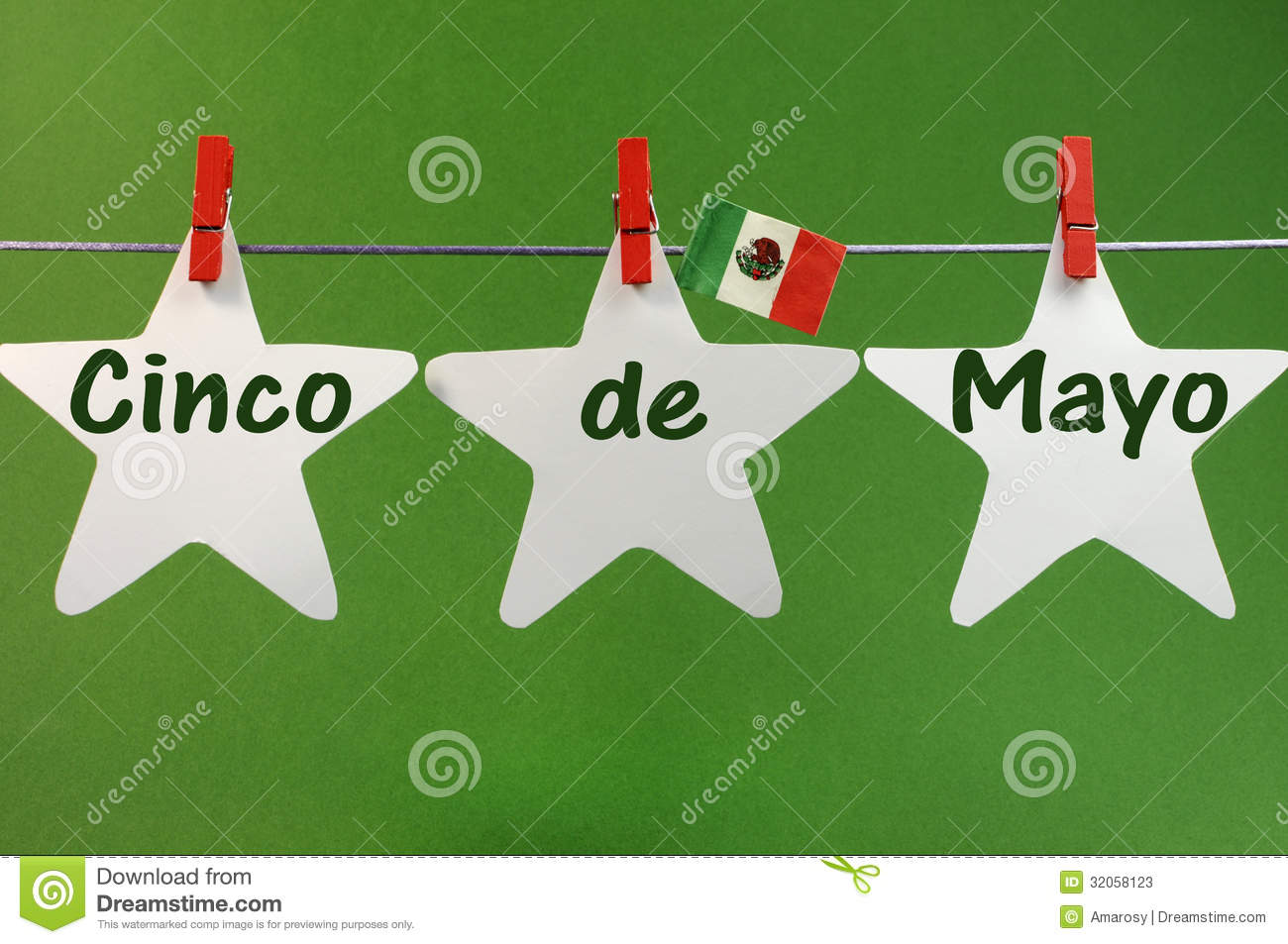 Cinco De Mayo Message Greeting Written Across White Stars And Mexico