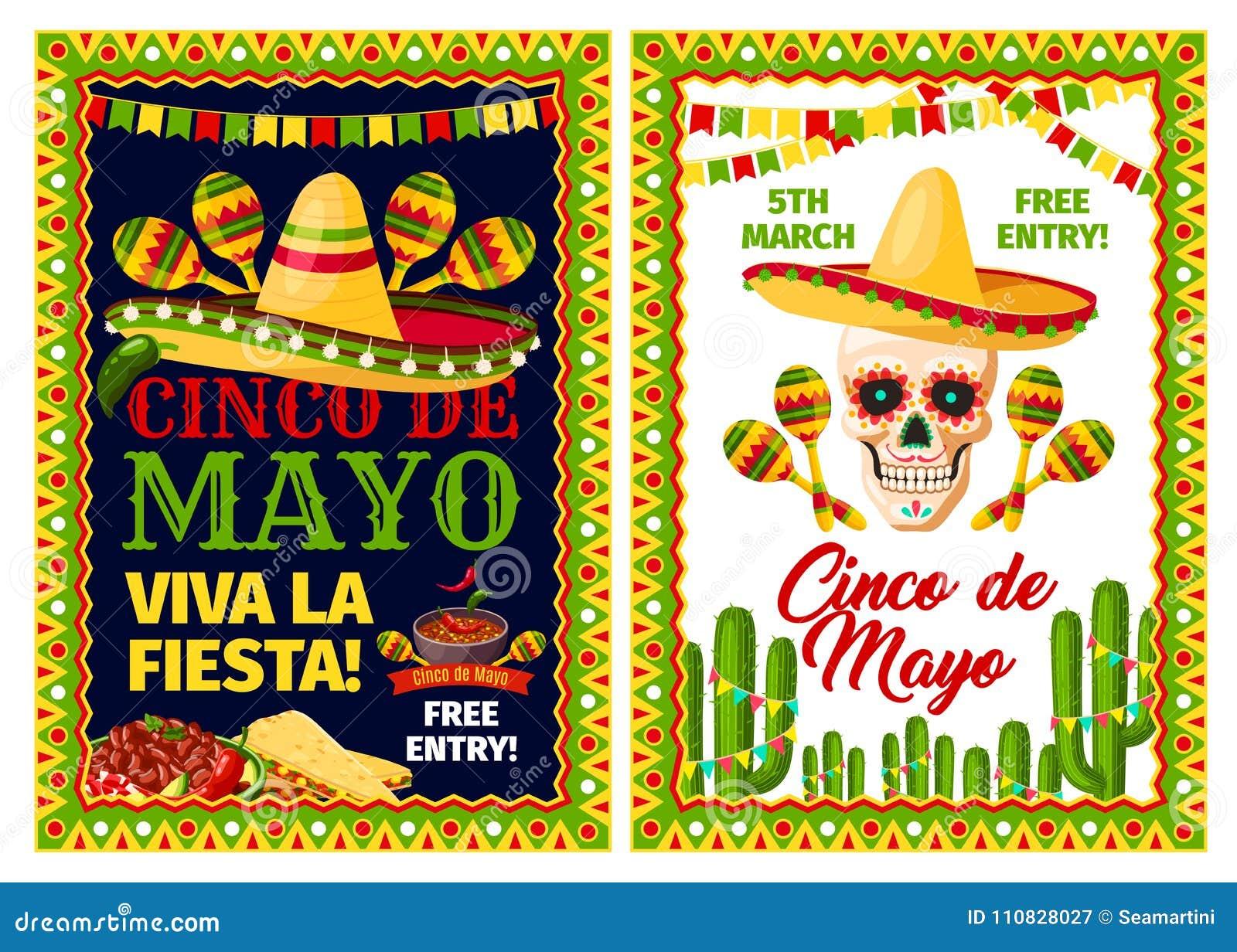 4cc2e786b282 Cinco de Mayo mexican holiday party invitation banner set. Fiesta party  sombrero hat
