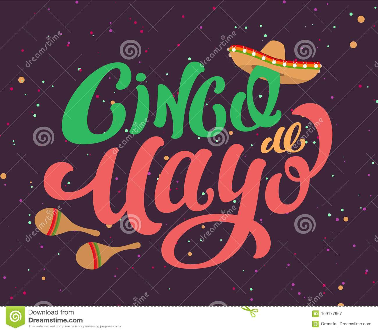 Cinco De Mayo Mexican Holiday Text Banner For Greeting Card Stock