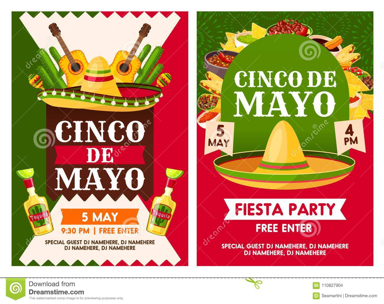 Cinco De Mayo Mexican National Holiday Cele Tion Fiesta Party Invitation Vector Posters Of Mexican Traditional Tequila And Guitar Mexico Flags On