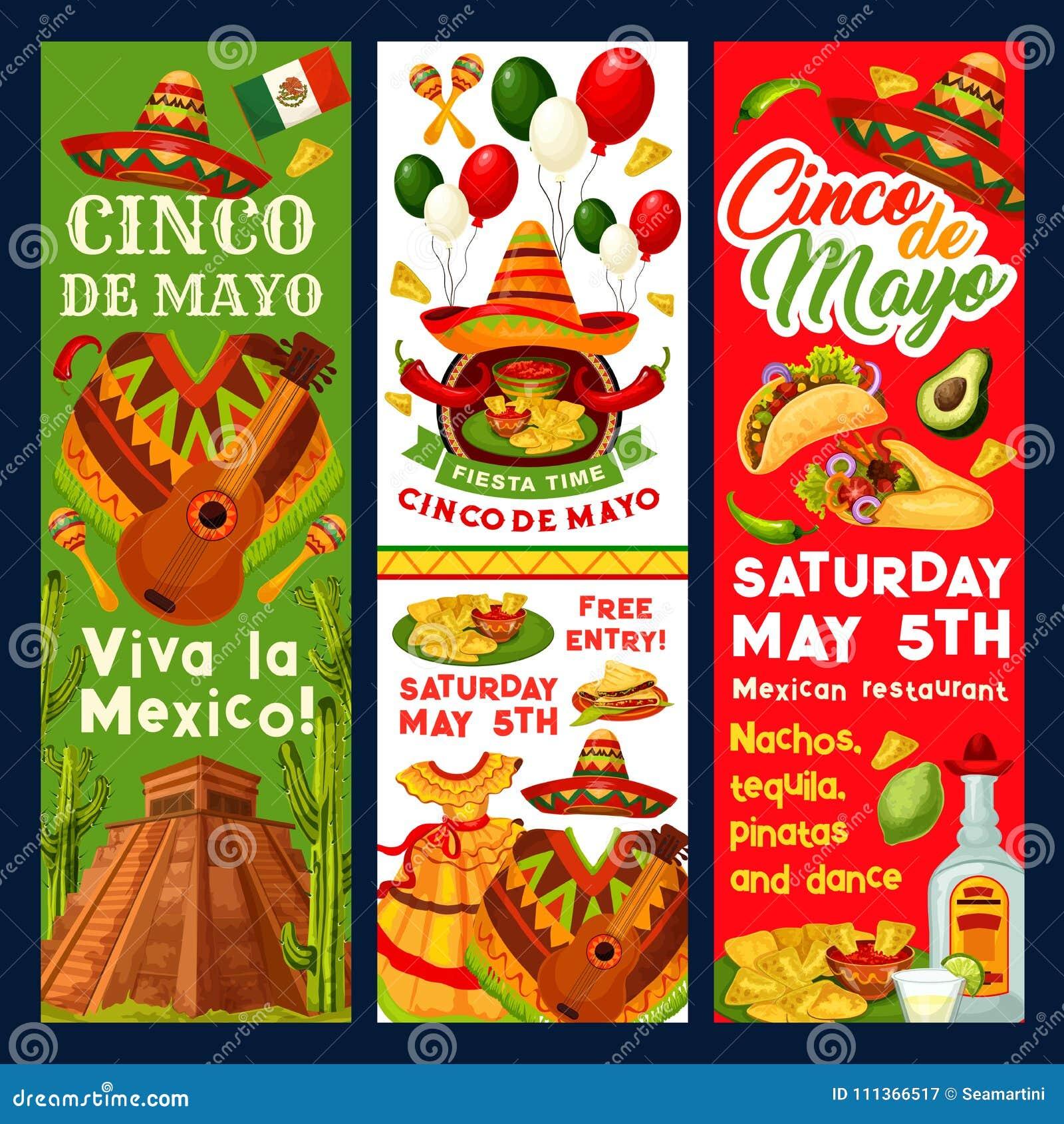 cinco de mayo mexican vector fiesta invitation stock vector