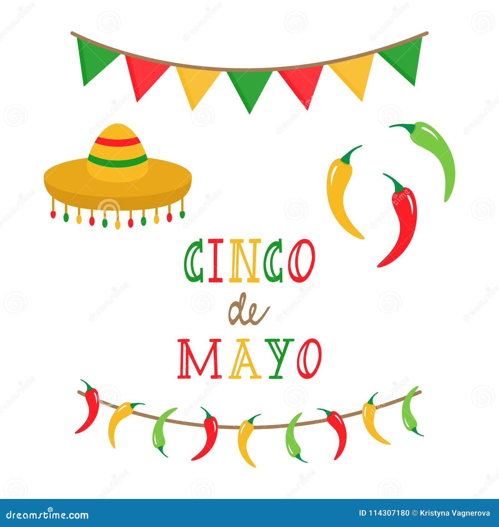 Cinco de Mayo, mexican vector set