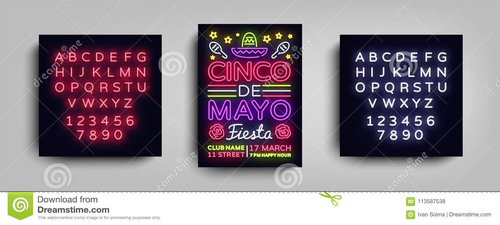 Cinco De Mayo Poster Design Neon Style Template Neon Sign