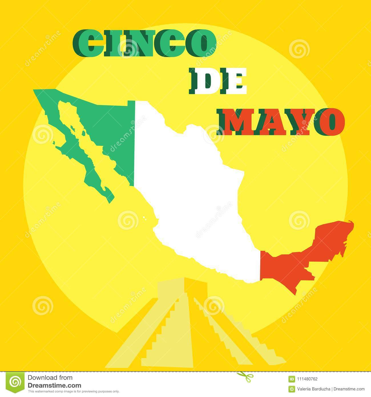 cinco de mayo poster design template with mexican map and piramide