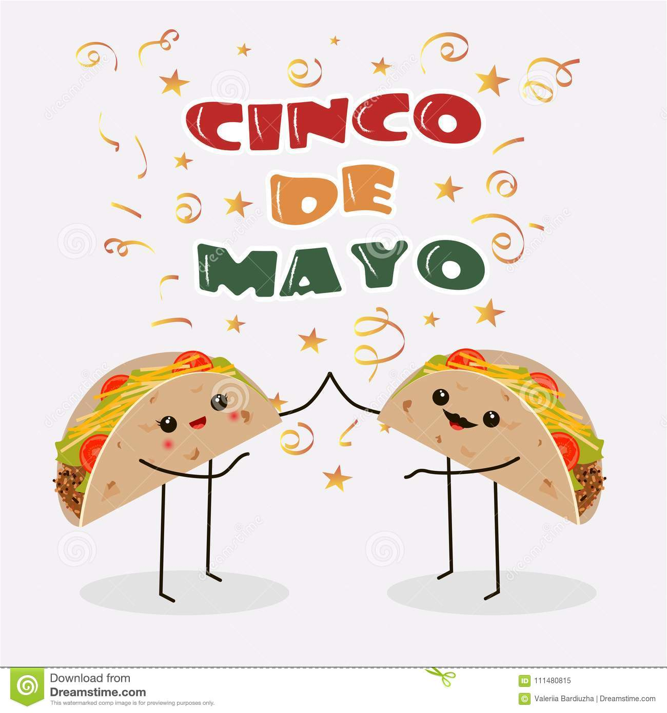 cinco de mayo poster design template with two cheerful tacos stock