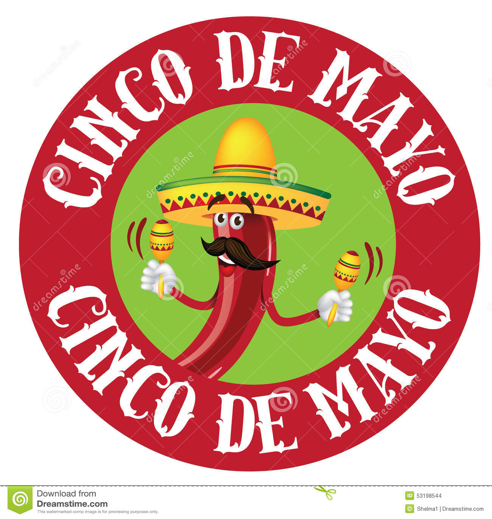 Cinco De Mayo Round Chili Icon Stock Vector - Image: 53198544