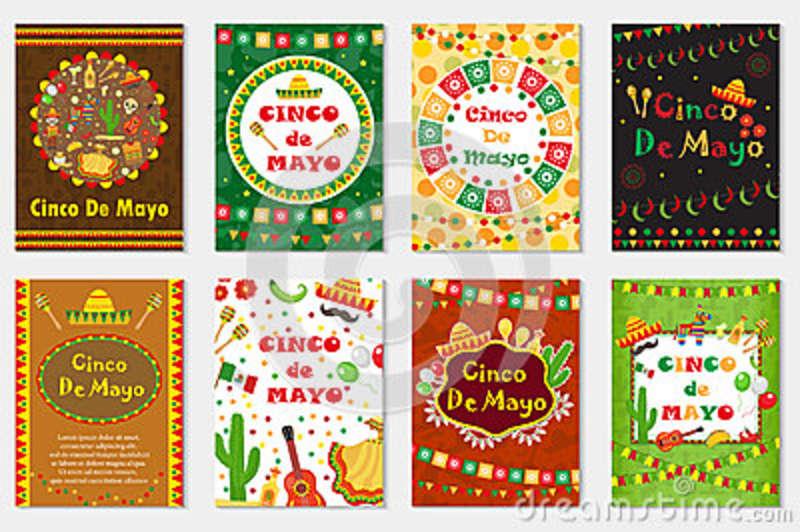Cinco de Mayo set greeting card, template for flyer, poster, invitation. Mexican celebration with traditional symbols