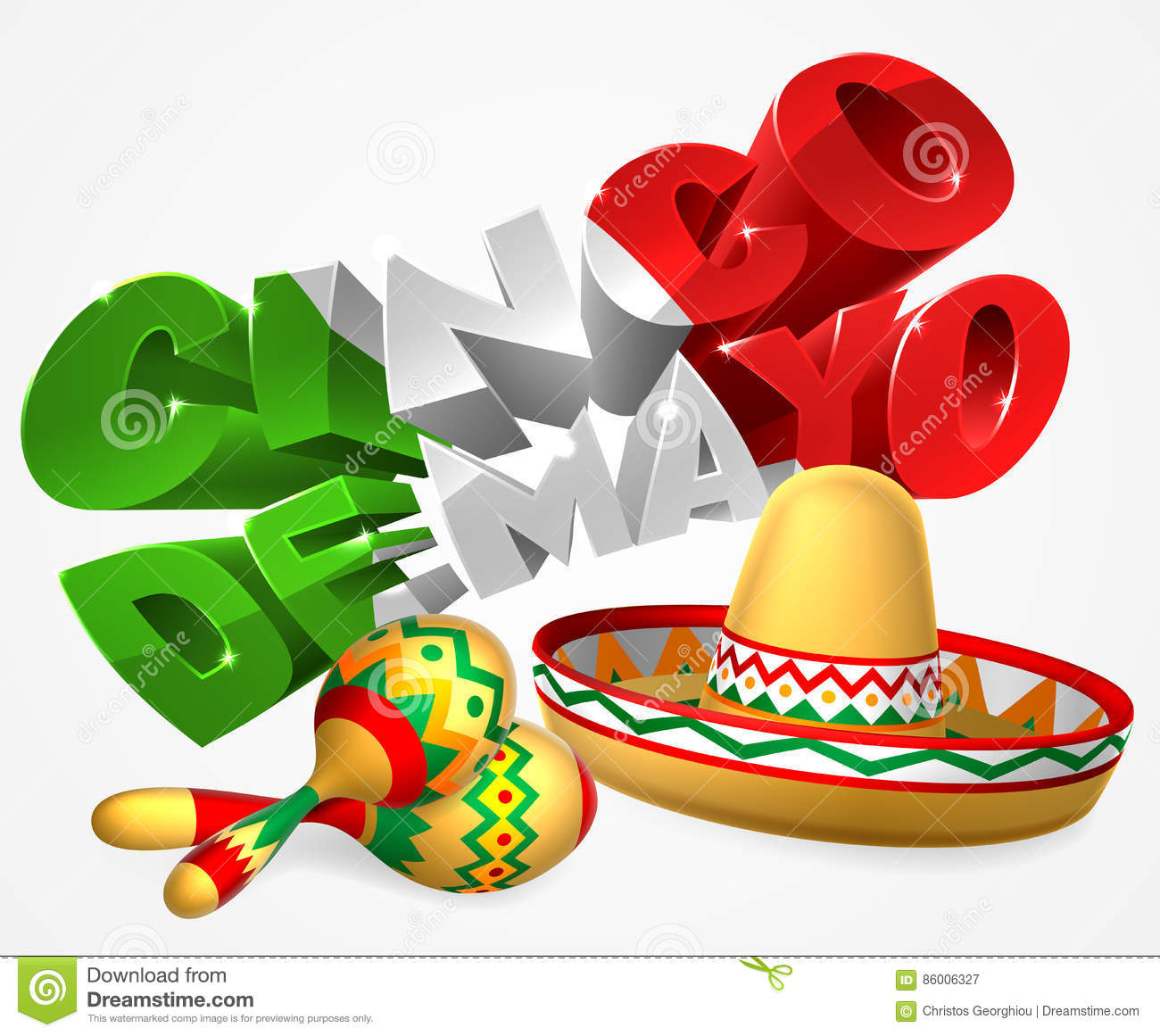 A mexican cinco de mayo label sign decal design with sombrero straw sun hat and maracas shakers