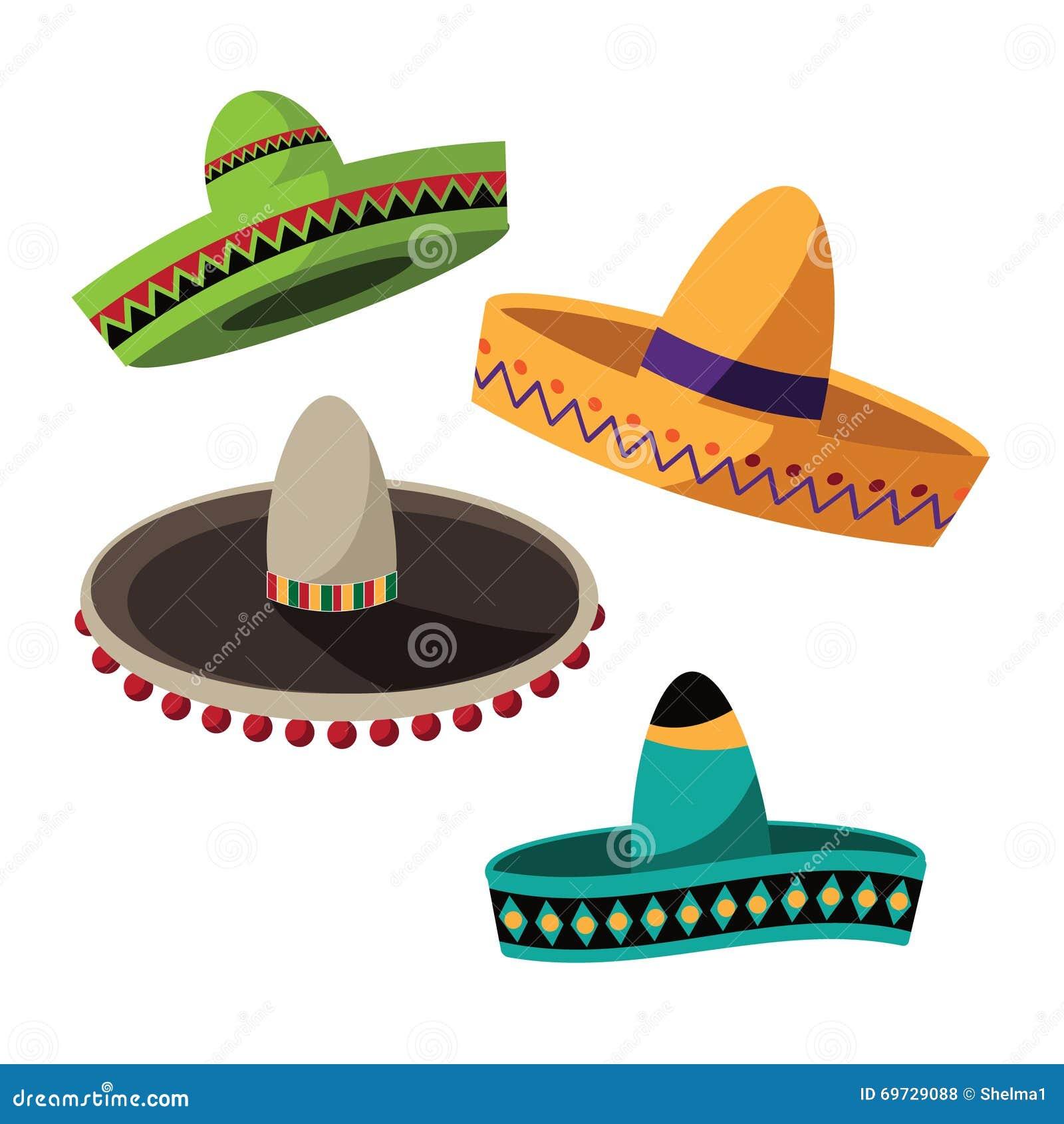 cinco de mayo sombrero flat design collection stock vector image 69729088. Black Bedroom Furniture Sets. Home Design Ideas