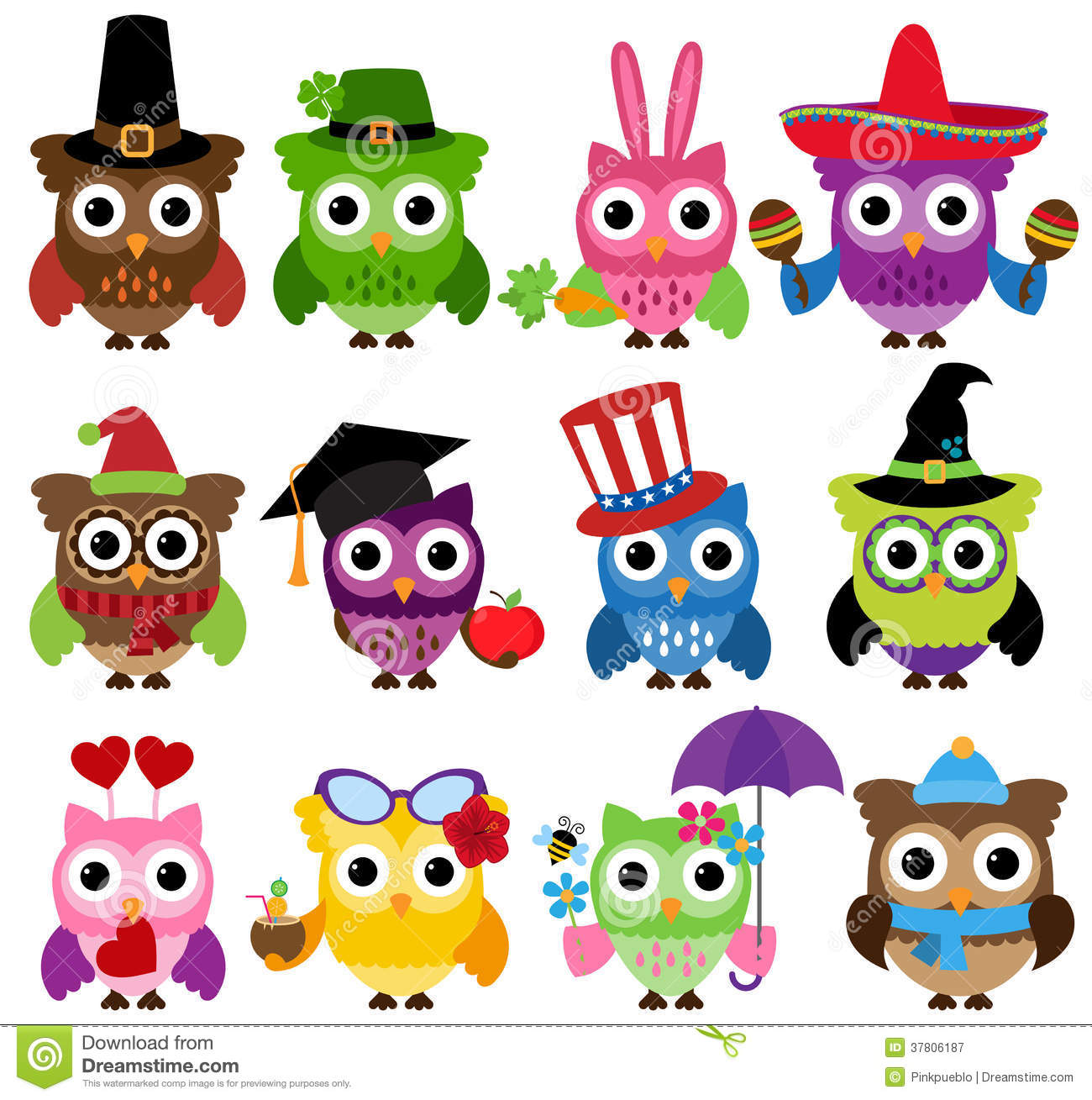 Cinco de Mayo Themed Collection of Owls