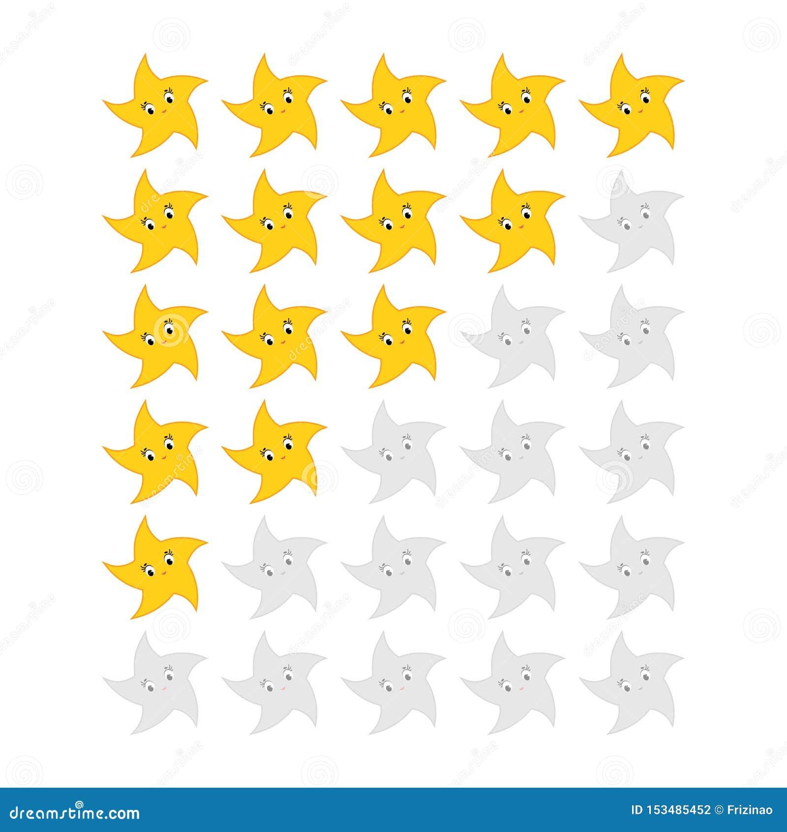 Cinco estrellas que valoran el icono Evaluación del hotel, servicio, producto, calidad Resultados o lifes llanos en el juego para