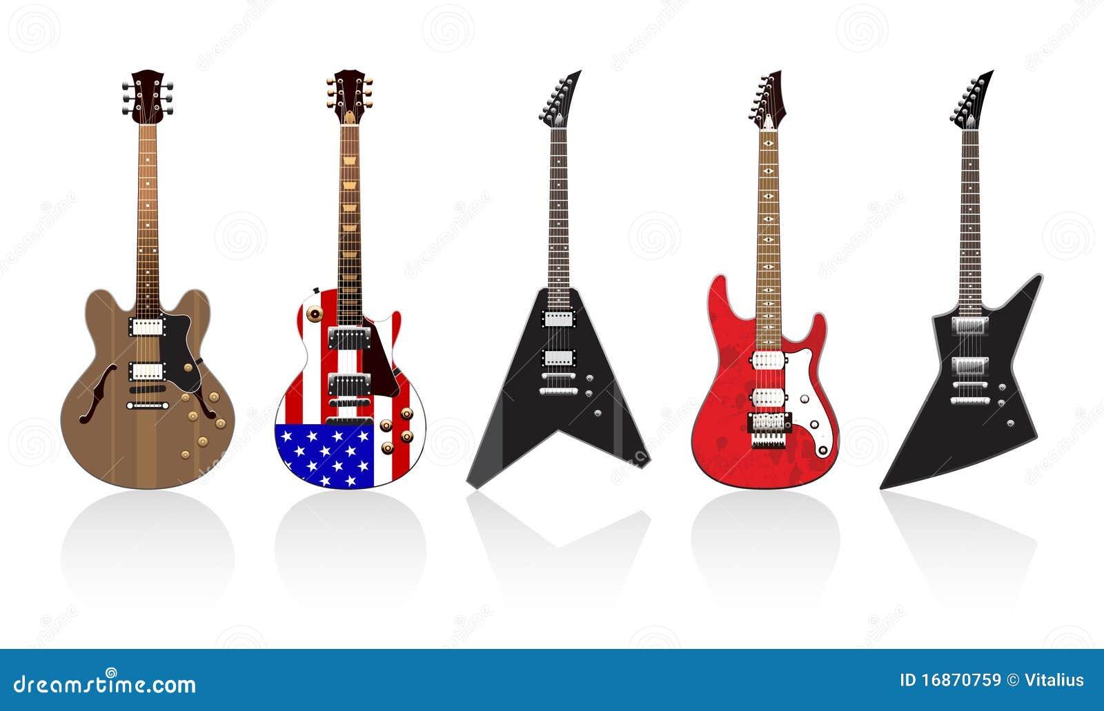 Cinco guitarra elétricas bonitas